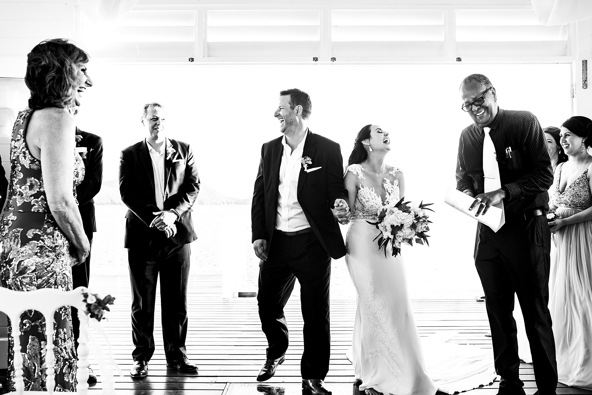 Black and White Ceremony Photo at St. Lucia | officiant butchers the groom's name