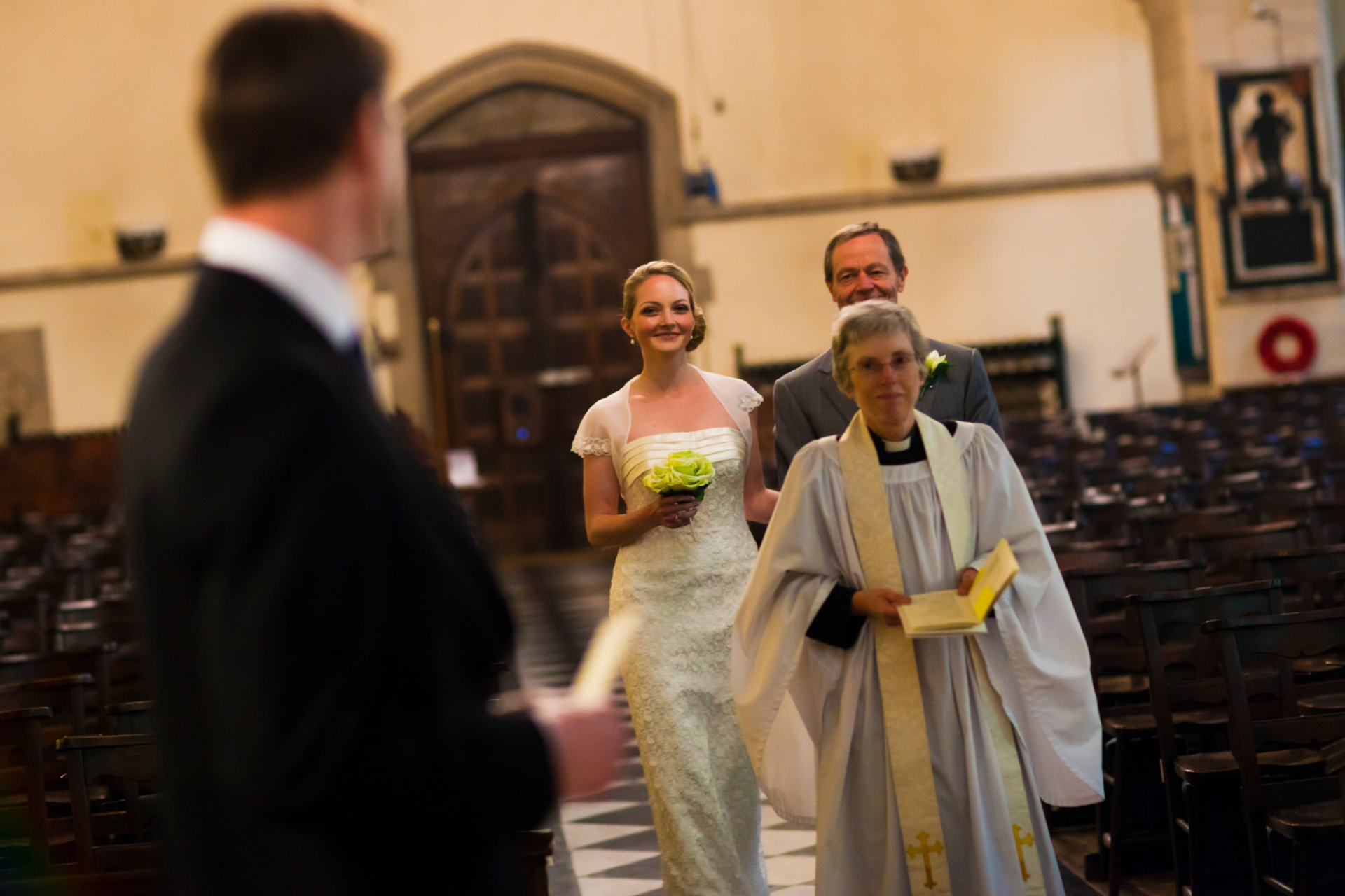 All Saints Church of London - Elopement Ceremony Image | The bride arrives at the ceremony where her groom waits for her