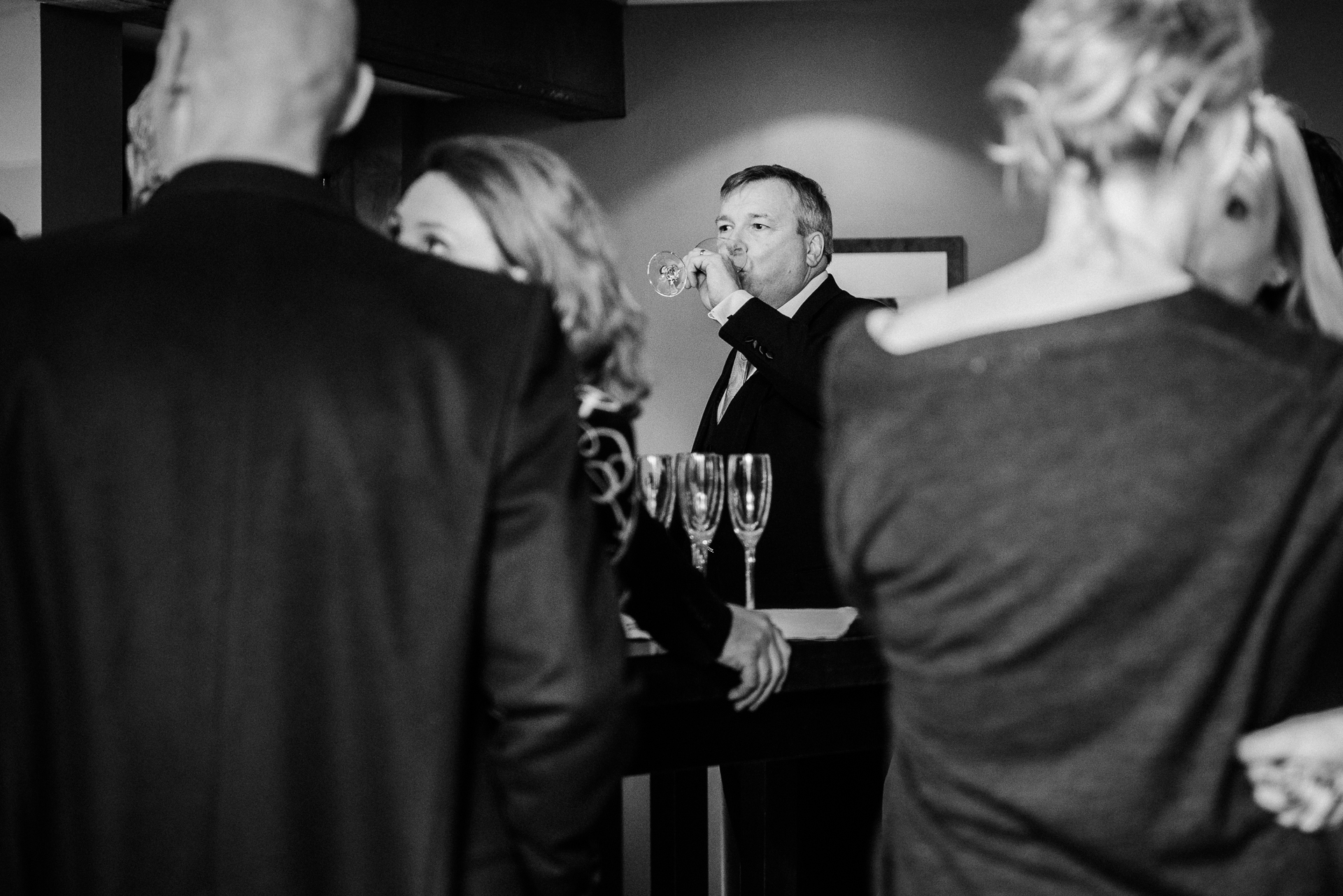 Hotel Du Vin, Brighton Elopement Groom Picture | The groom enjoys a glass of champagne
