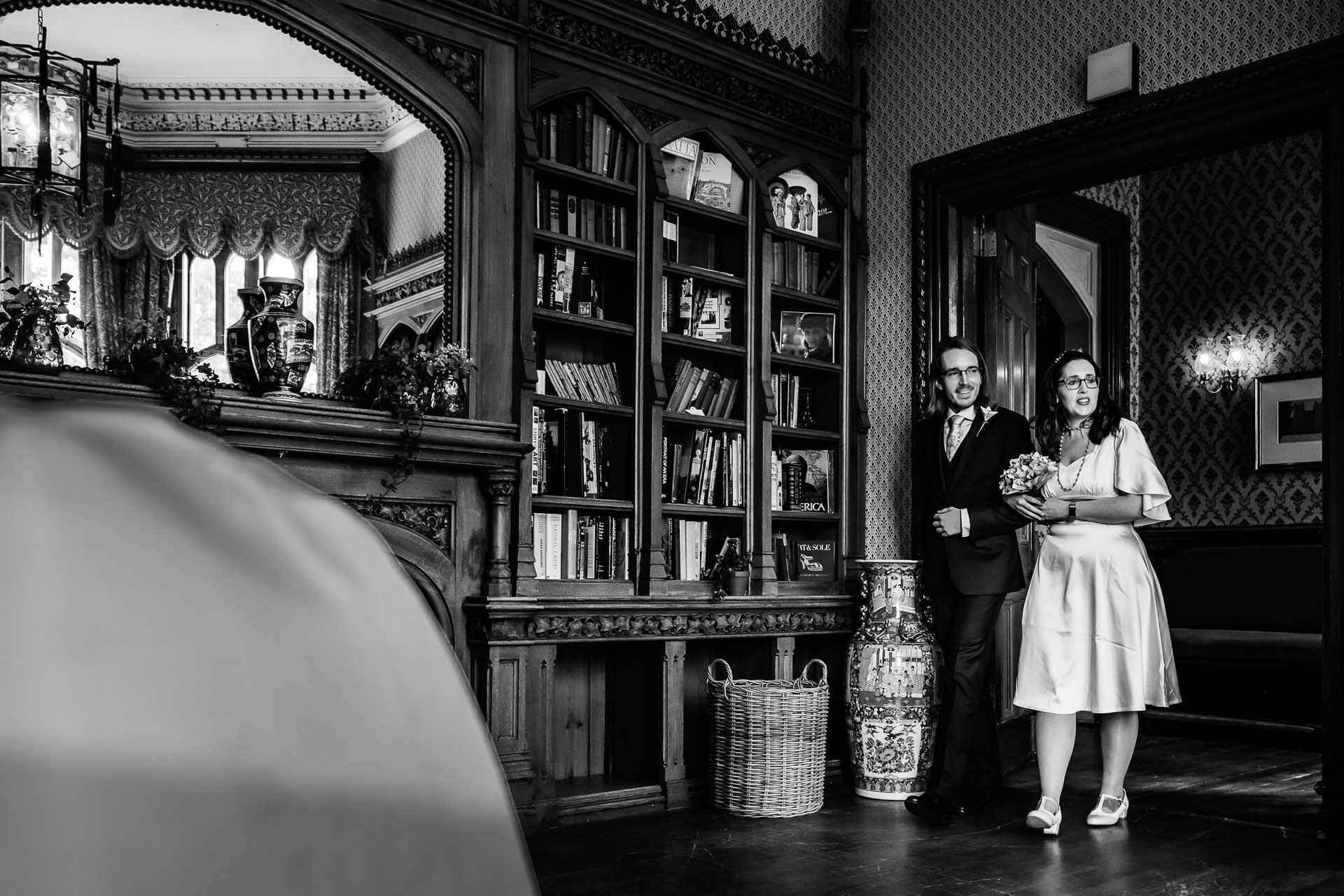 Windsor, Berkshire Elopement Photography | The couple is walking together down the short aisle to their wedding ceremony