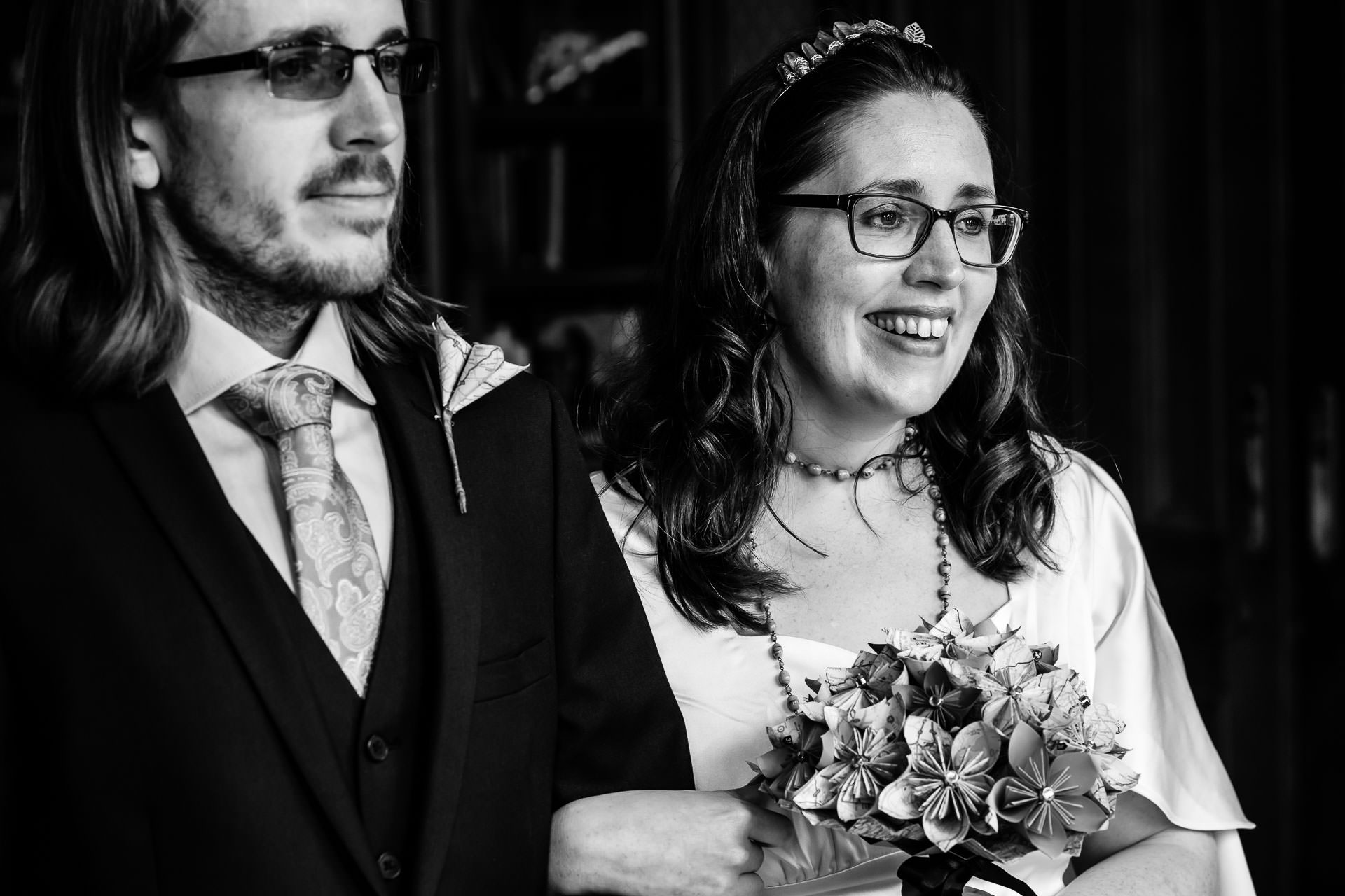 The Oakley Court, Windsor, Berkshire, UK Elopement Photographer | The bride is laughing during the couple's ceremony