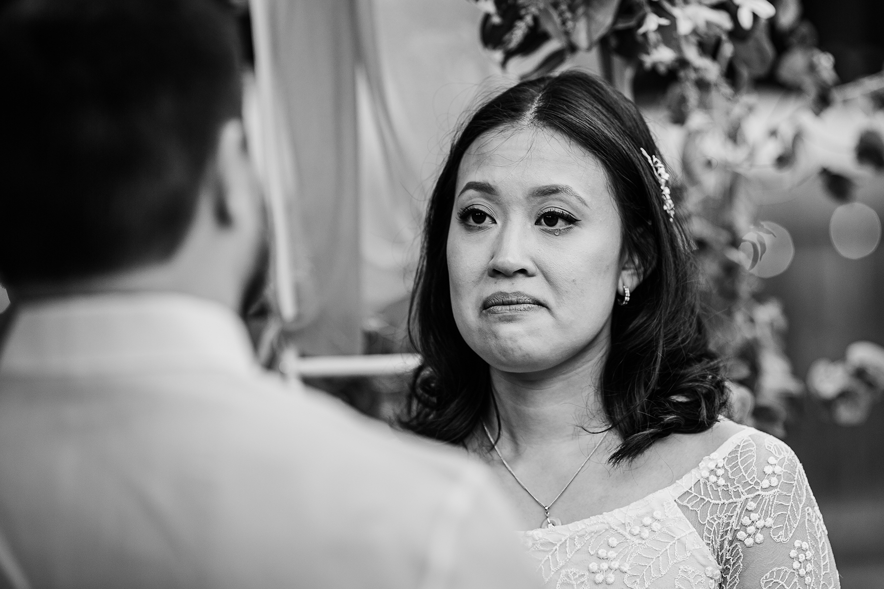 CA Home Elopement Ceremony Image | The bride starts to become a bit emotional and sheds a few tears