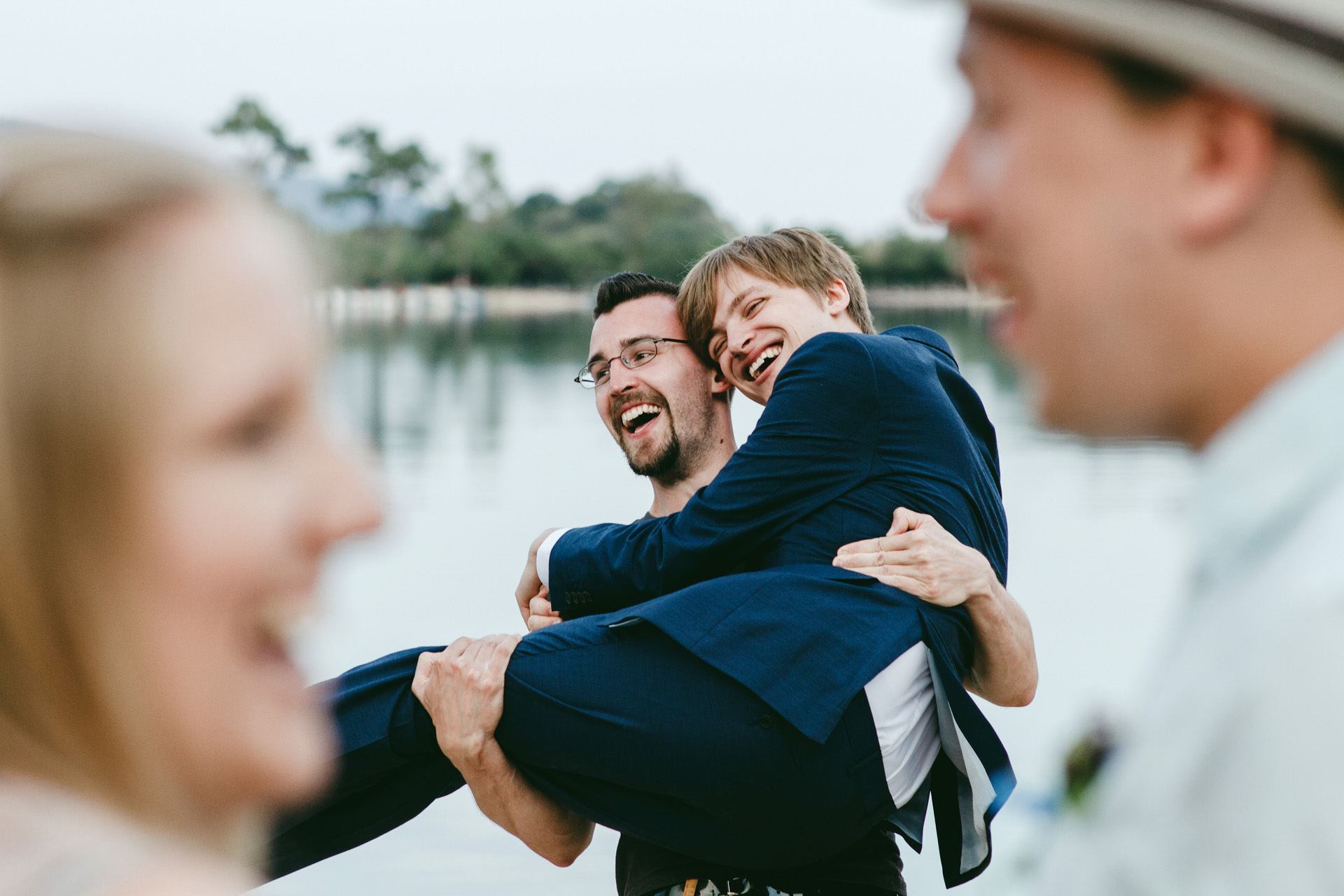 Blue Lagoon, Turkey Elopement Fun Picture | The groom's best friend lifts him up after the ceremony