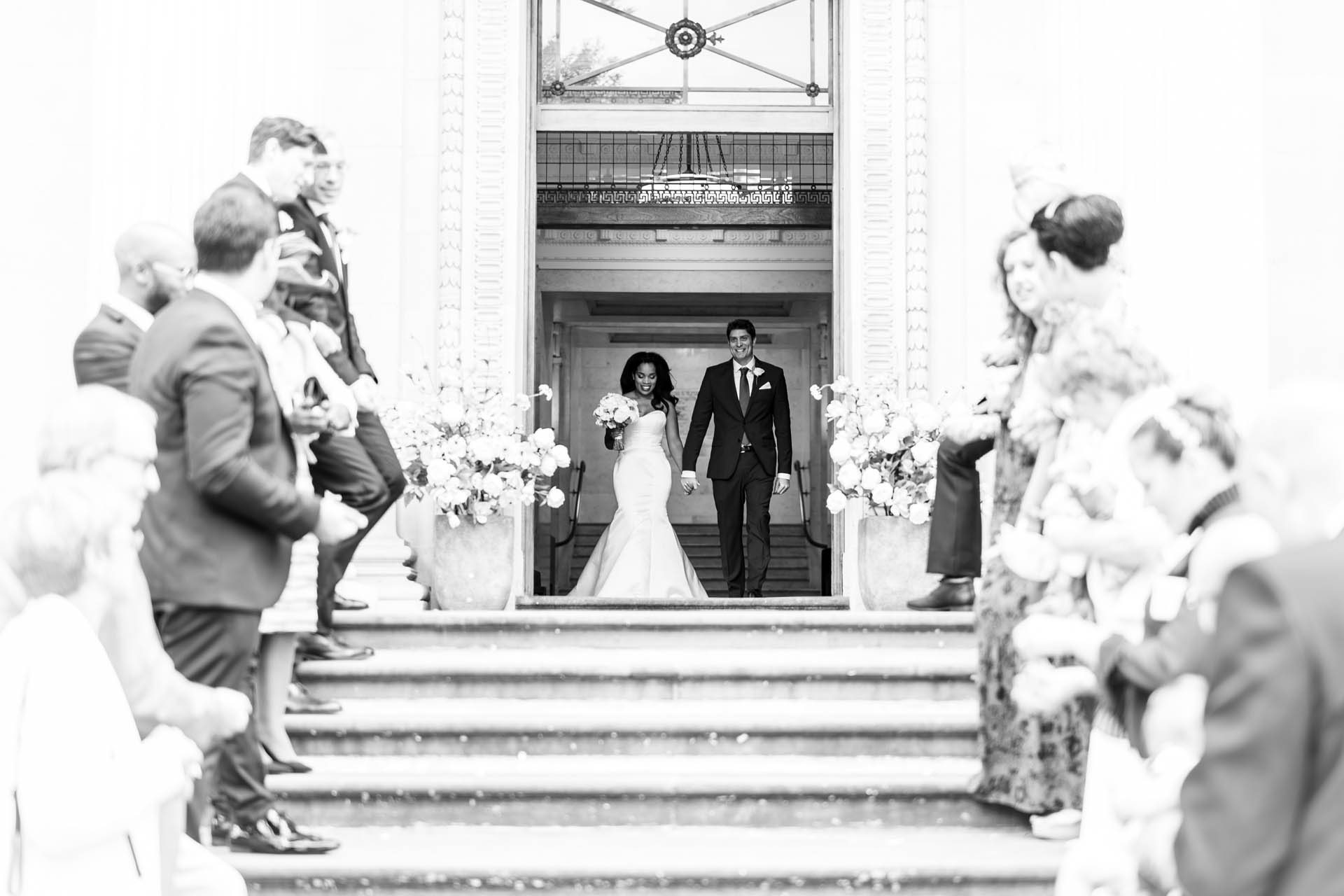 London Town Hall Civil Elopement Ceremony Photographer | The newlyweds emerge onto the steps