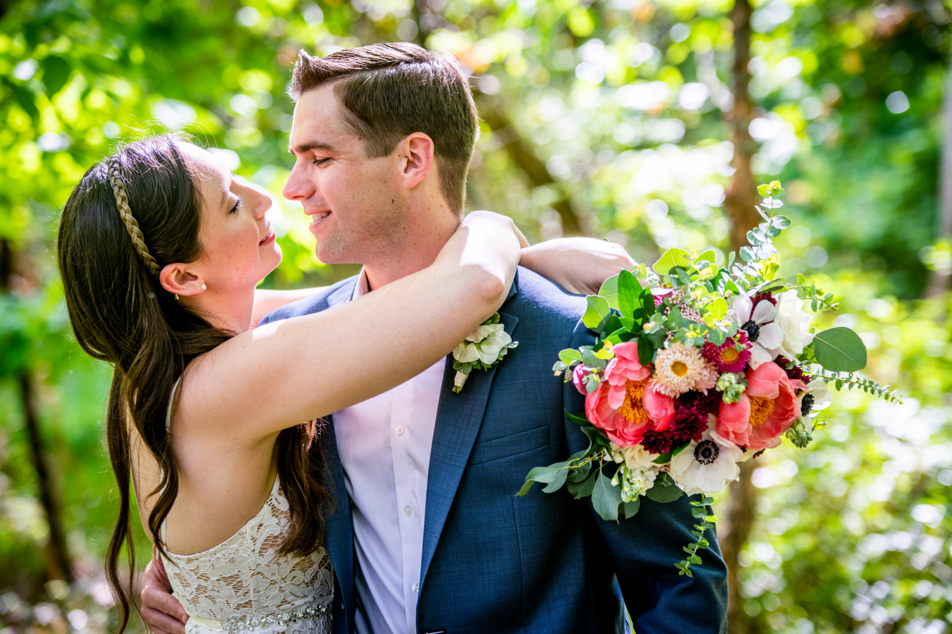 VA Home Elopement Pictures | The couple takes a moment to themselves as they hug each other