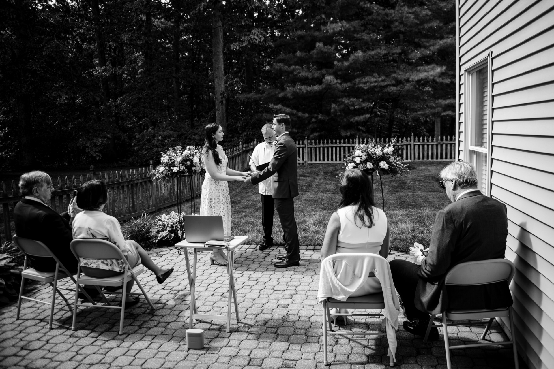 Backyard Elopement Picture from Reston, VA | The ceremony takes place outside in the backyard