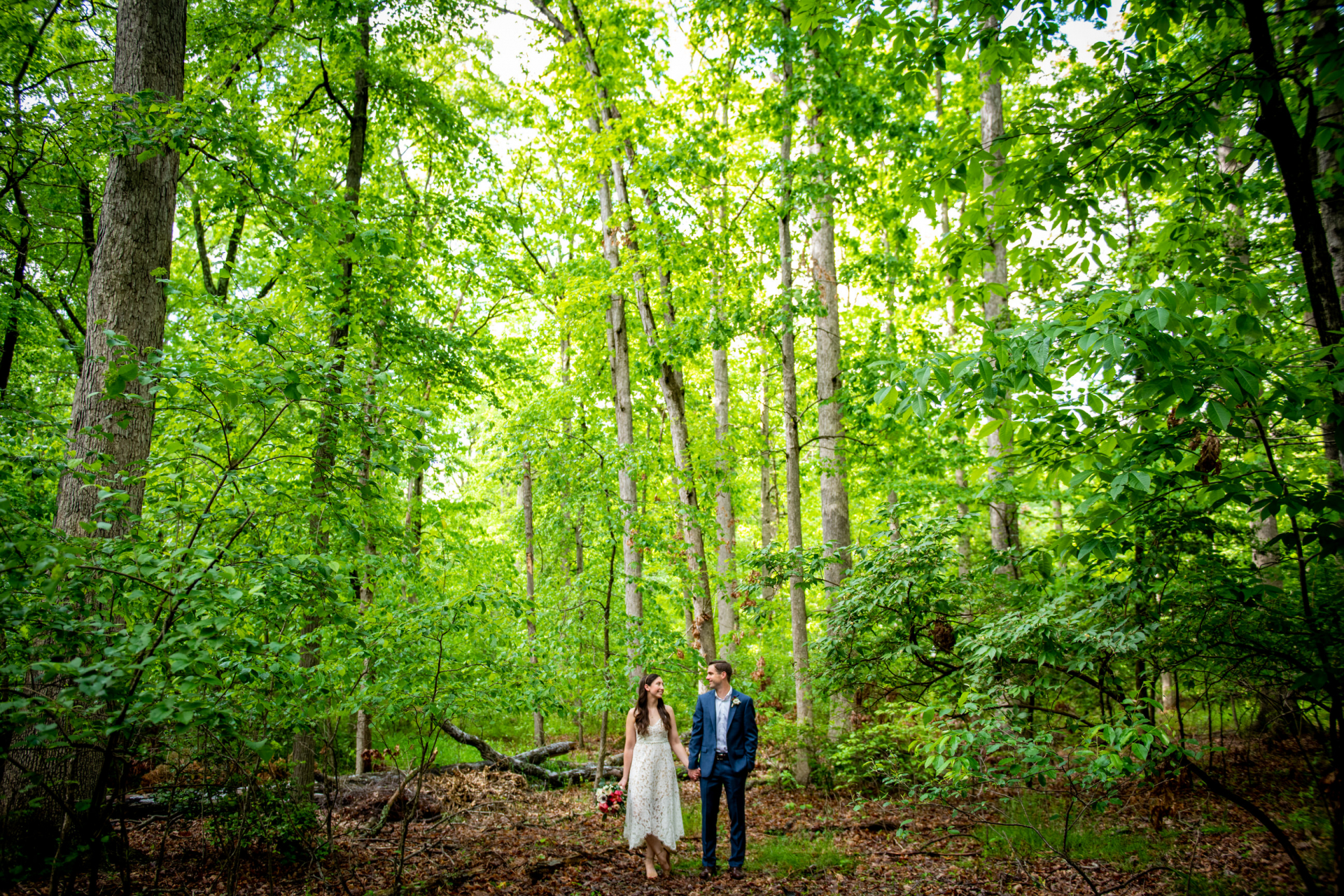 Virginia At-Home Elopement Portrait of the Couple   The woods behind the house were perfect for some intimate portraits