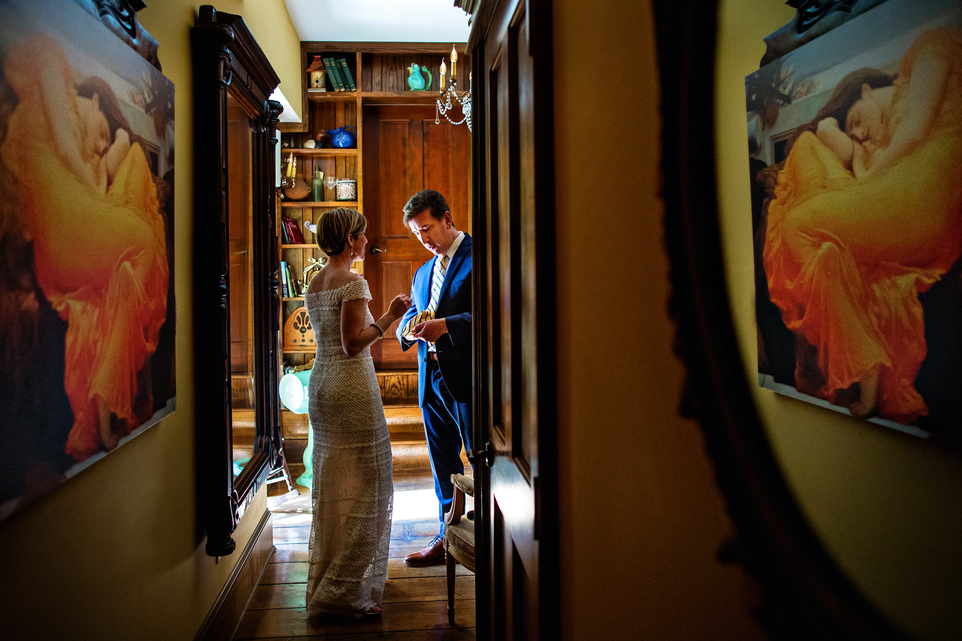 Beach Haven, New Jersey Elopement Photo | finishing touches for the bride and groom at The Gables Inn.