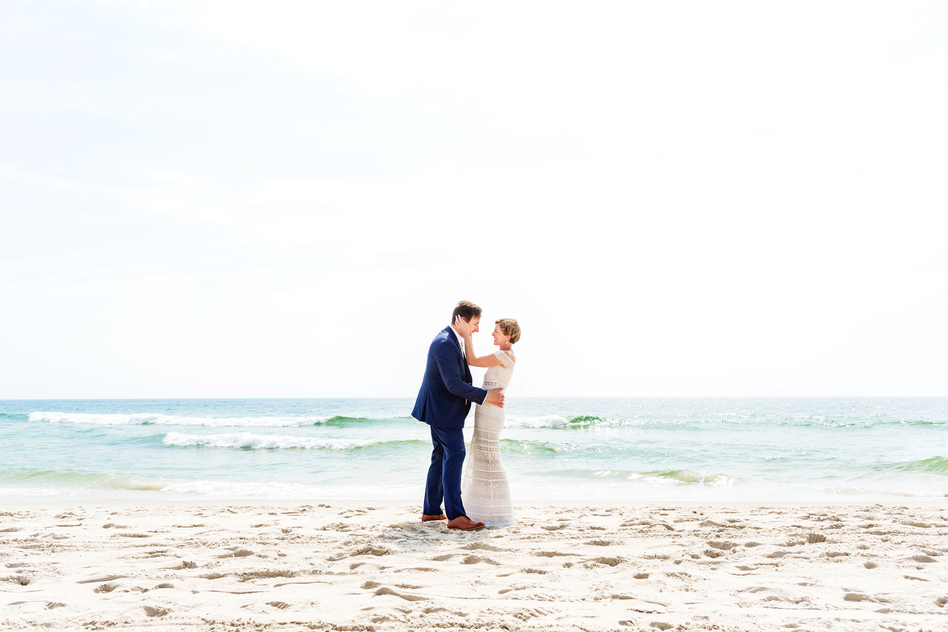 New Jersey Beach Elopement Portrait Photography | A mid-day summer wedding couple portrait