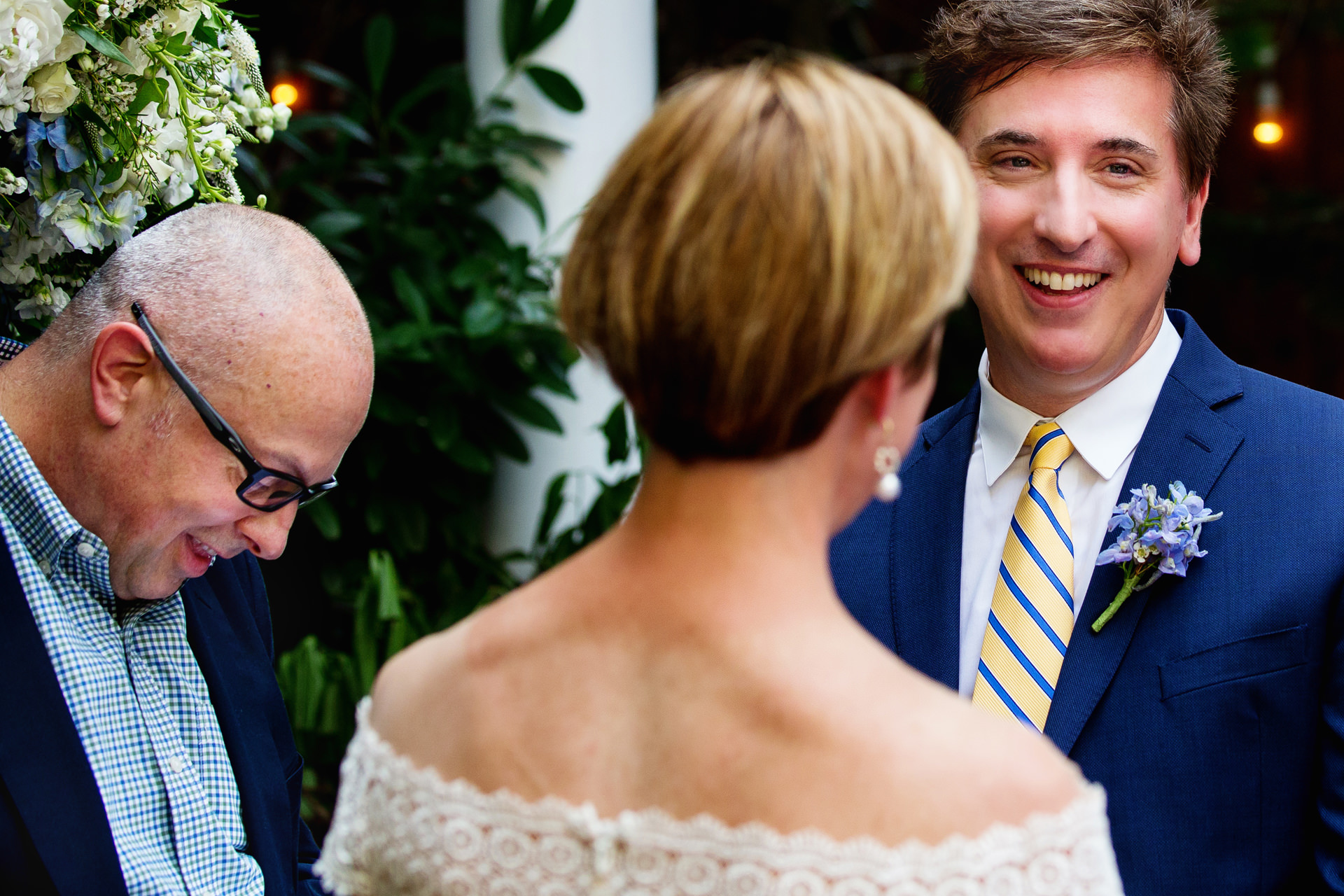 NJ Outdoor Small Elopement Ceremony Photos | Laughter erupts during the wedding
