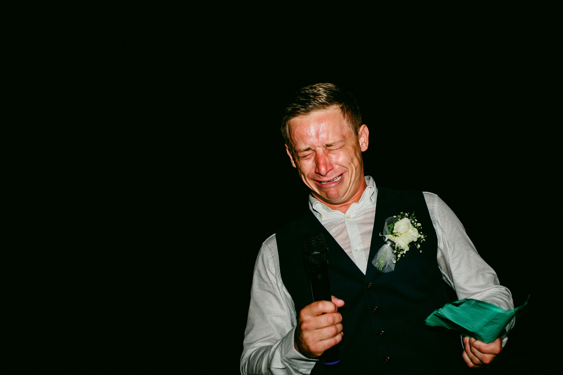 Sea Horse Beach Club Destination Elopement Photographer | The groom becomes extremely emotional while giving his speech