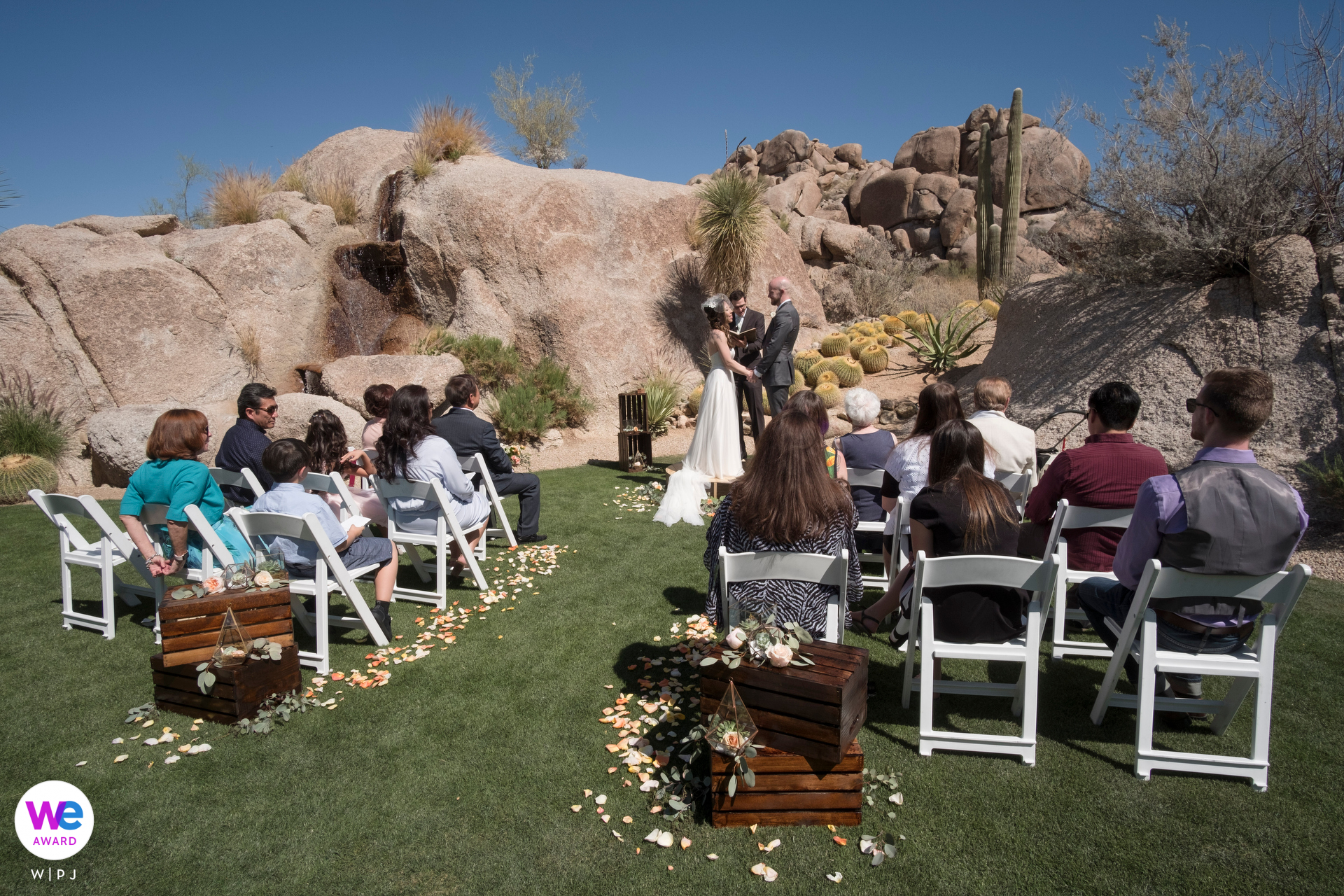 Boulders Resort and Spa, Scottsdale, Arizona Elopement Photographer | This couple chose to have a small, intimate ceremony surrounded by stunning natural rock formations and unique desert flora