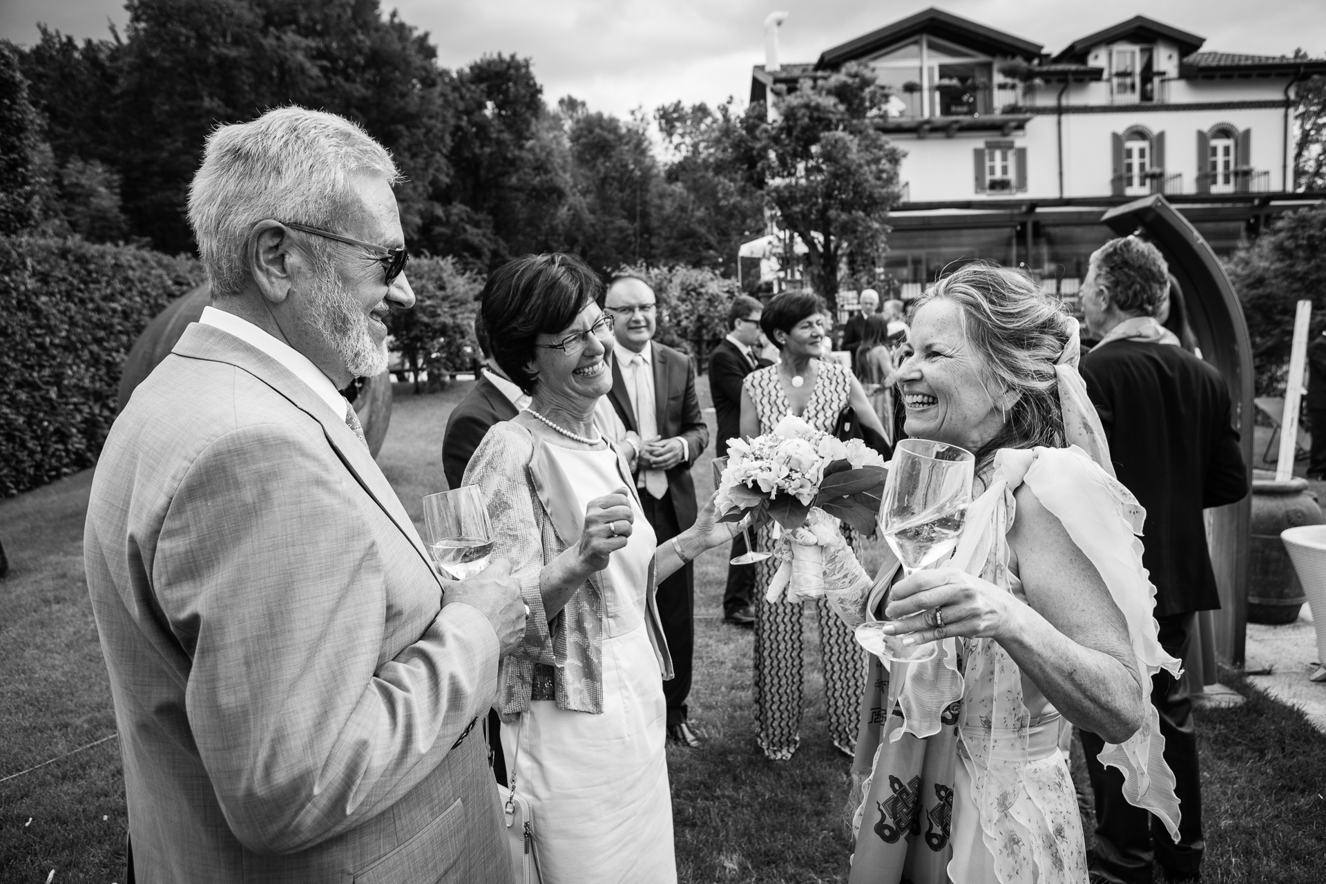 Italy Elopement Ceremony Picture from Villa Baroni | the guests give all their best wishes to the newlyweds