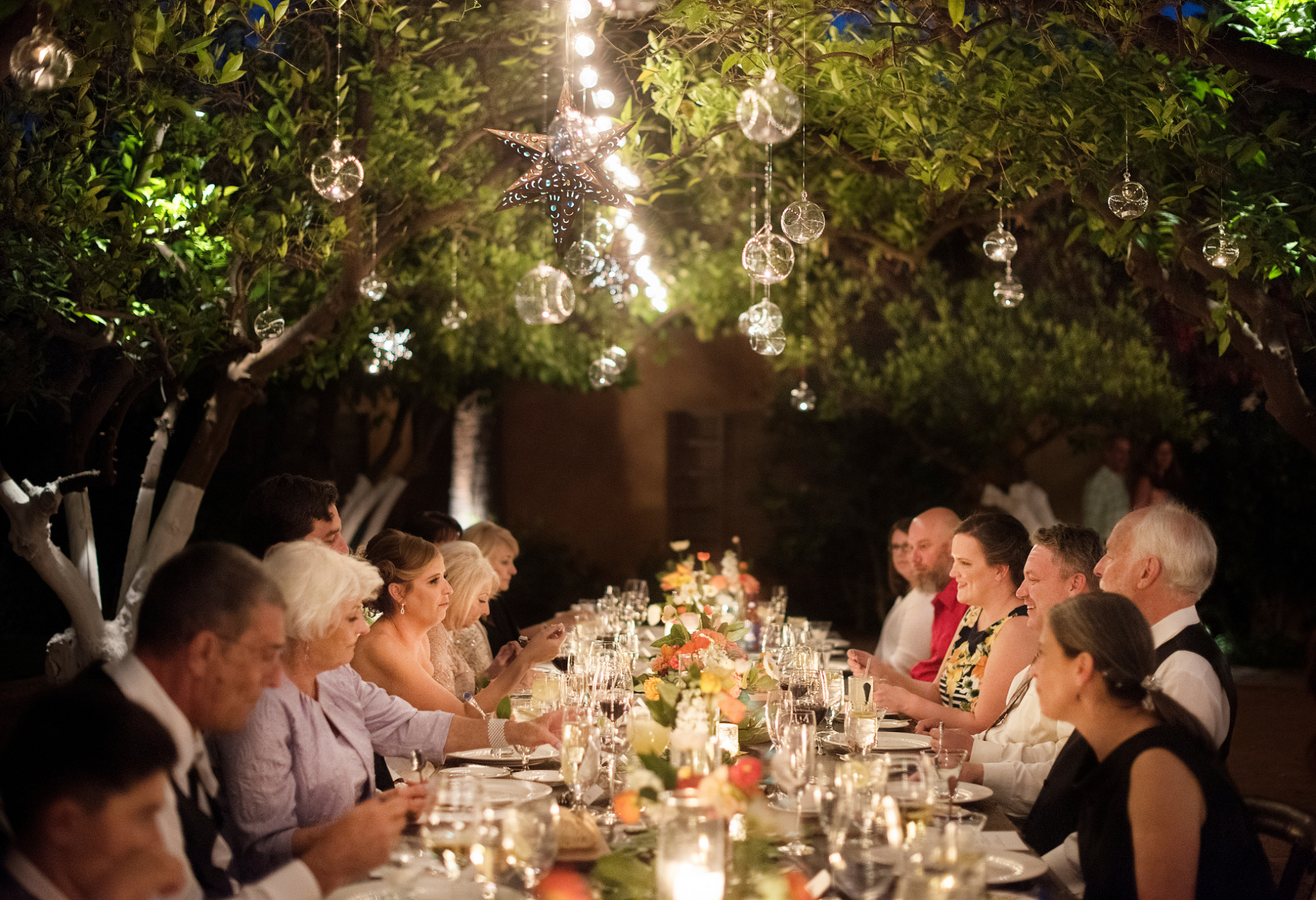 AZ Elopement Reception Venue Photo | The wedding reception dinner takes place outside