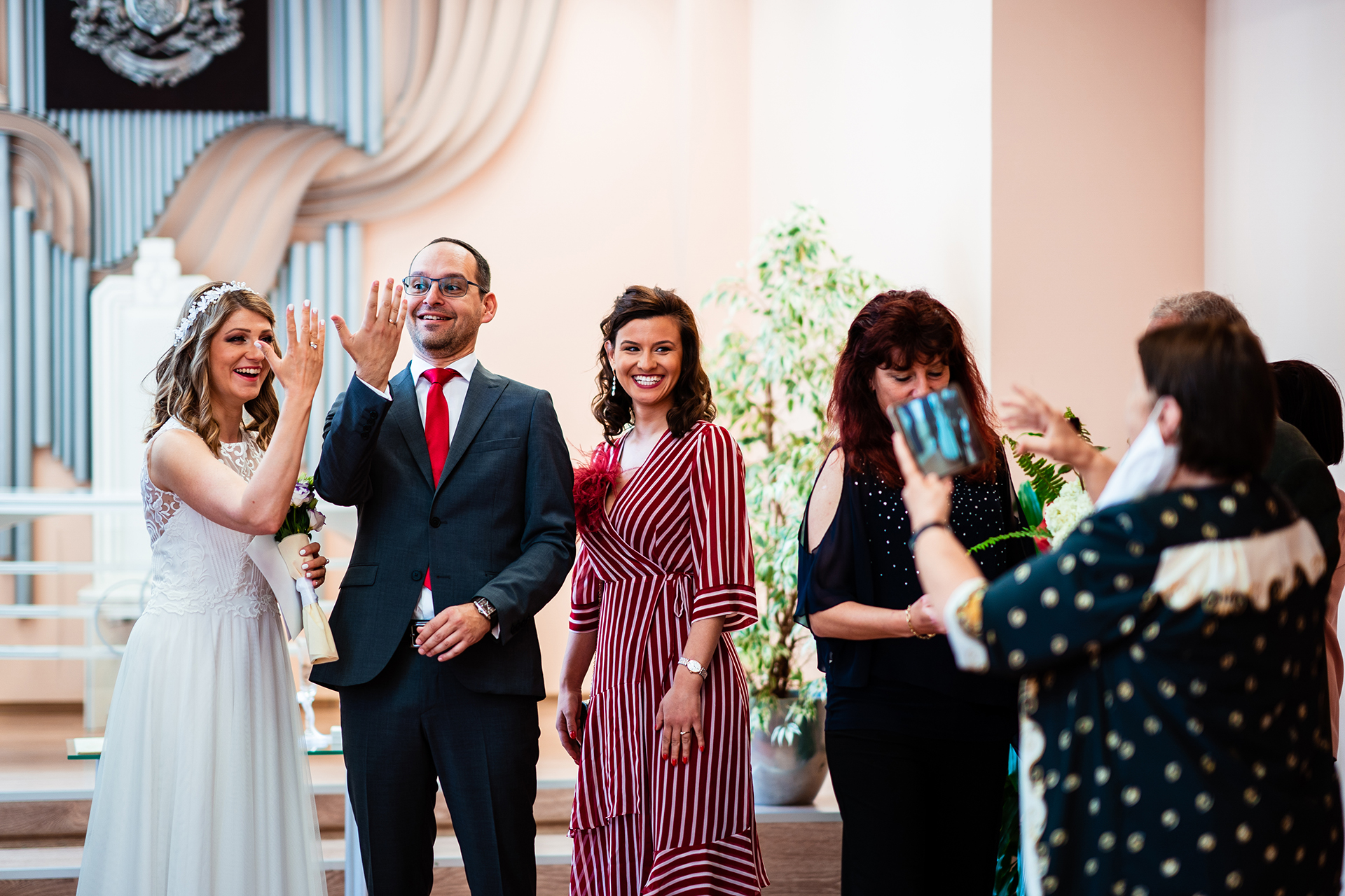 Sofia City Hall, Bulgaria Elopement Ceremony Photography | The newlyweds are happy to show their wedding rings