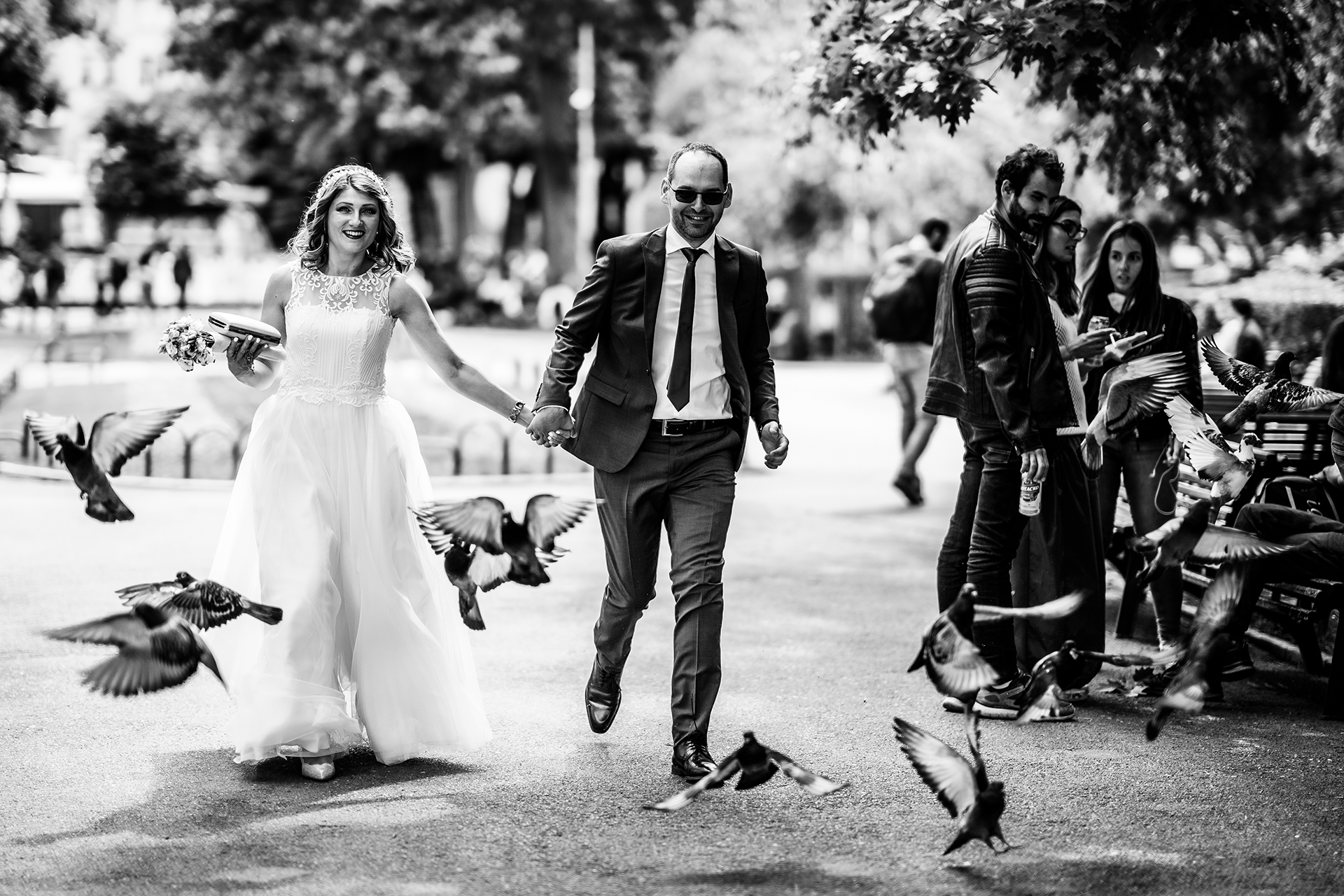 Bulgaria Elopement Couple Fun Portrait | The bride and the groom running and jumping for joy