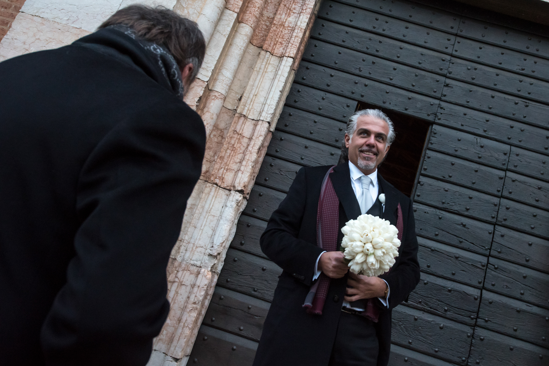 Church of Santa Maria, Gradaro, Mantua, Italy Elopement Photographer | The groom is the first at the church