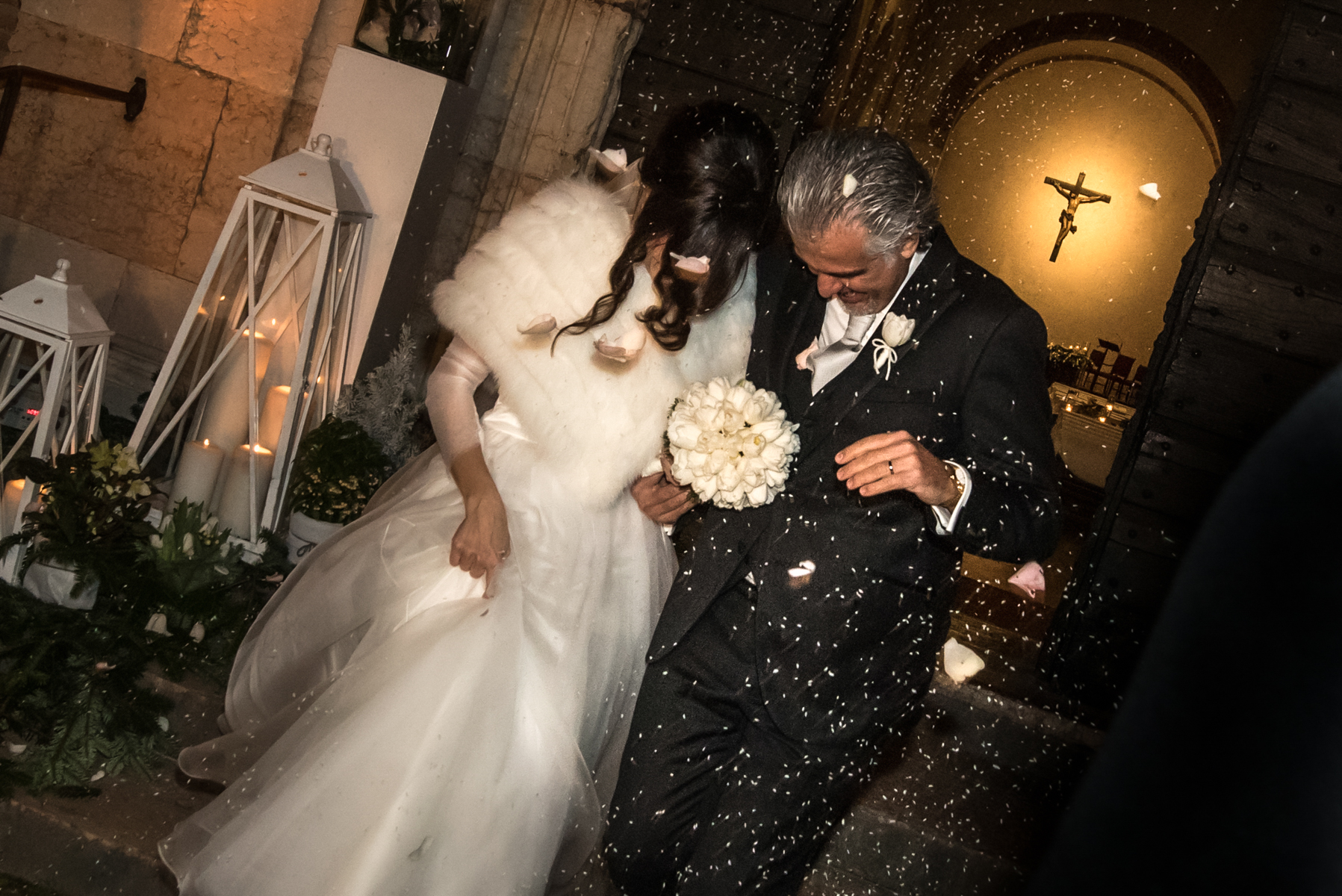 Santa Maria Elopement Ceremony Photo - A Church of Mantua, IT | The newlyweds exit the church