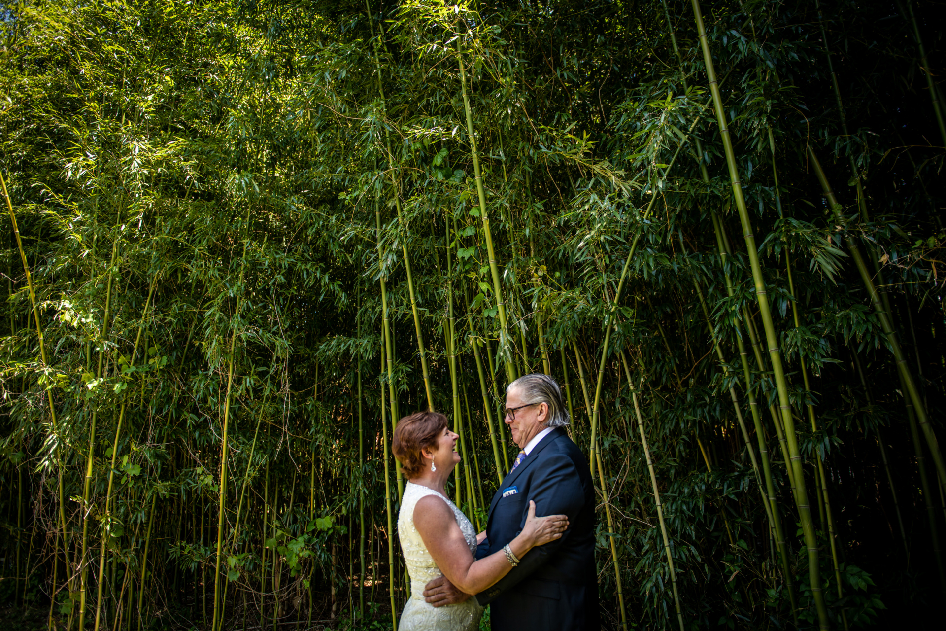 Maryland Backyard Elopement Portrait | beautiful bamboo in their backyard for portraits