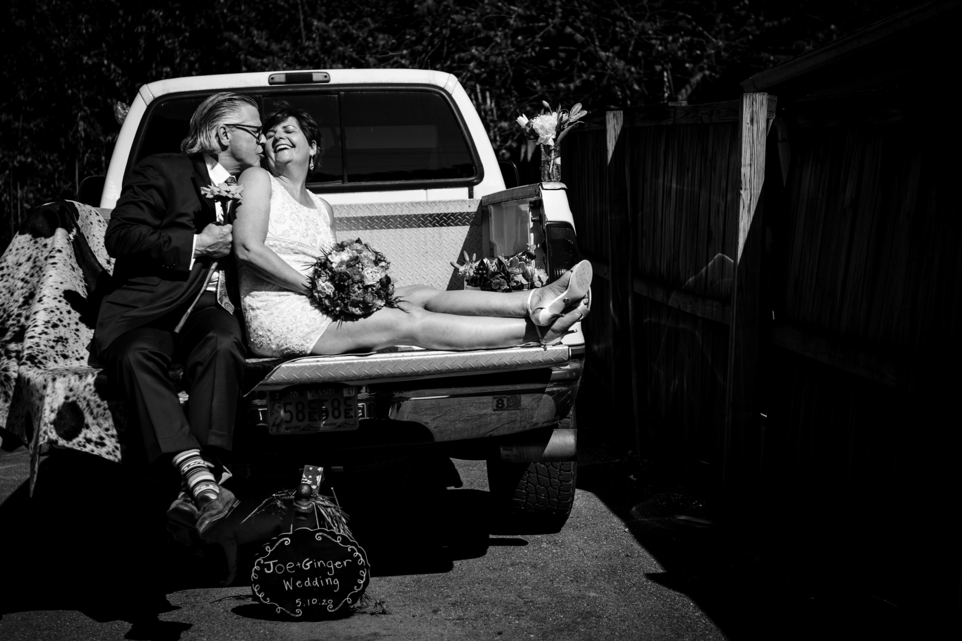 At-Home Backyard MD Elopement Picture | they couldn't have photos in the back of their truck in a field