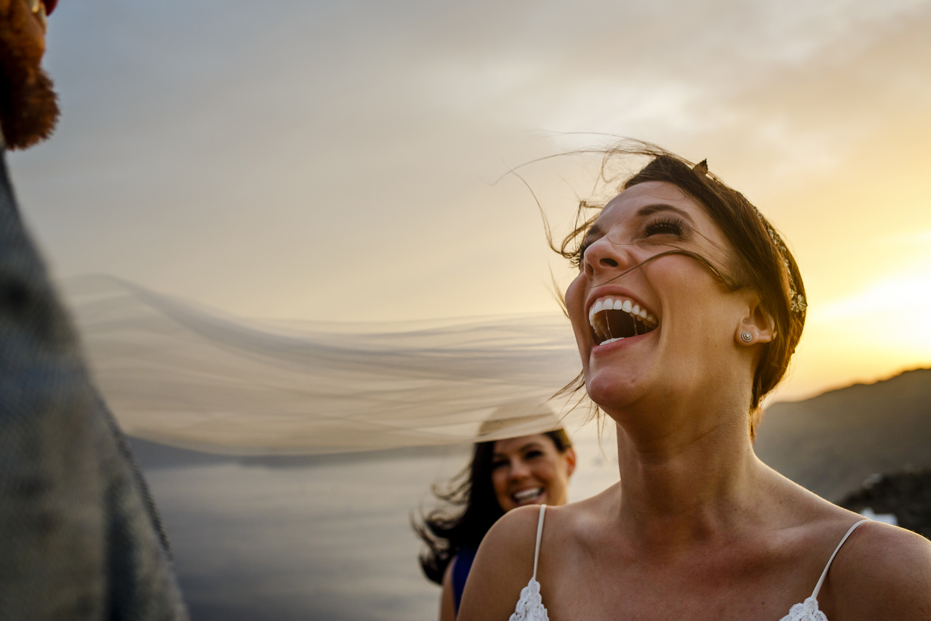 Fira, Santorini, Greece Outdoor Elopement Ceremony Photos | the bride had a beautiful smile during the ceremony
