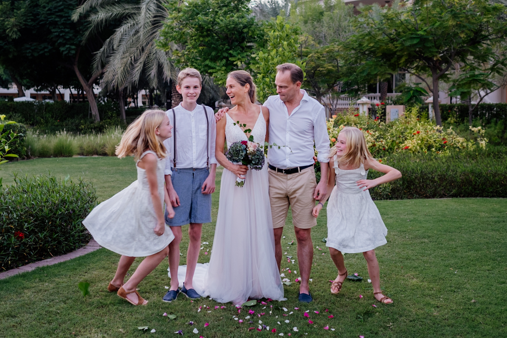 UAE Outdoor Elopement Ceremony Portrait | with kids around, all they need is encouragement