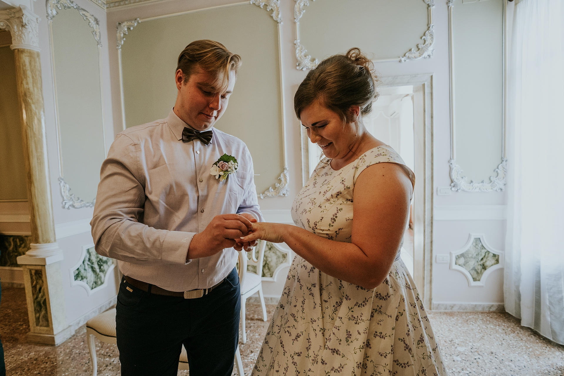 Palazzo Goldoni Elopement Ring Ceremony Image | The intimate exchange of the rings