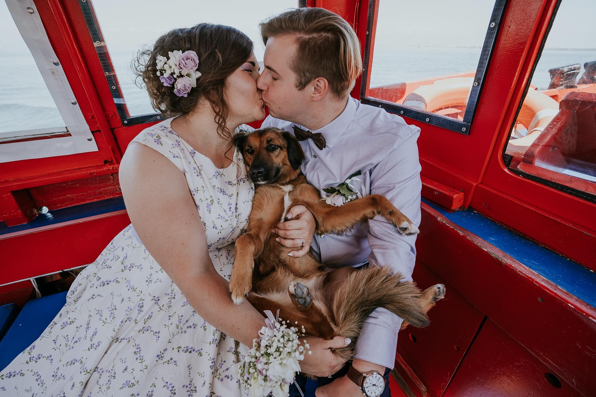 Portrait d'élopement à Pellestrina | un portrait des jeunes mariés avec leur chien