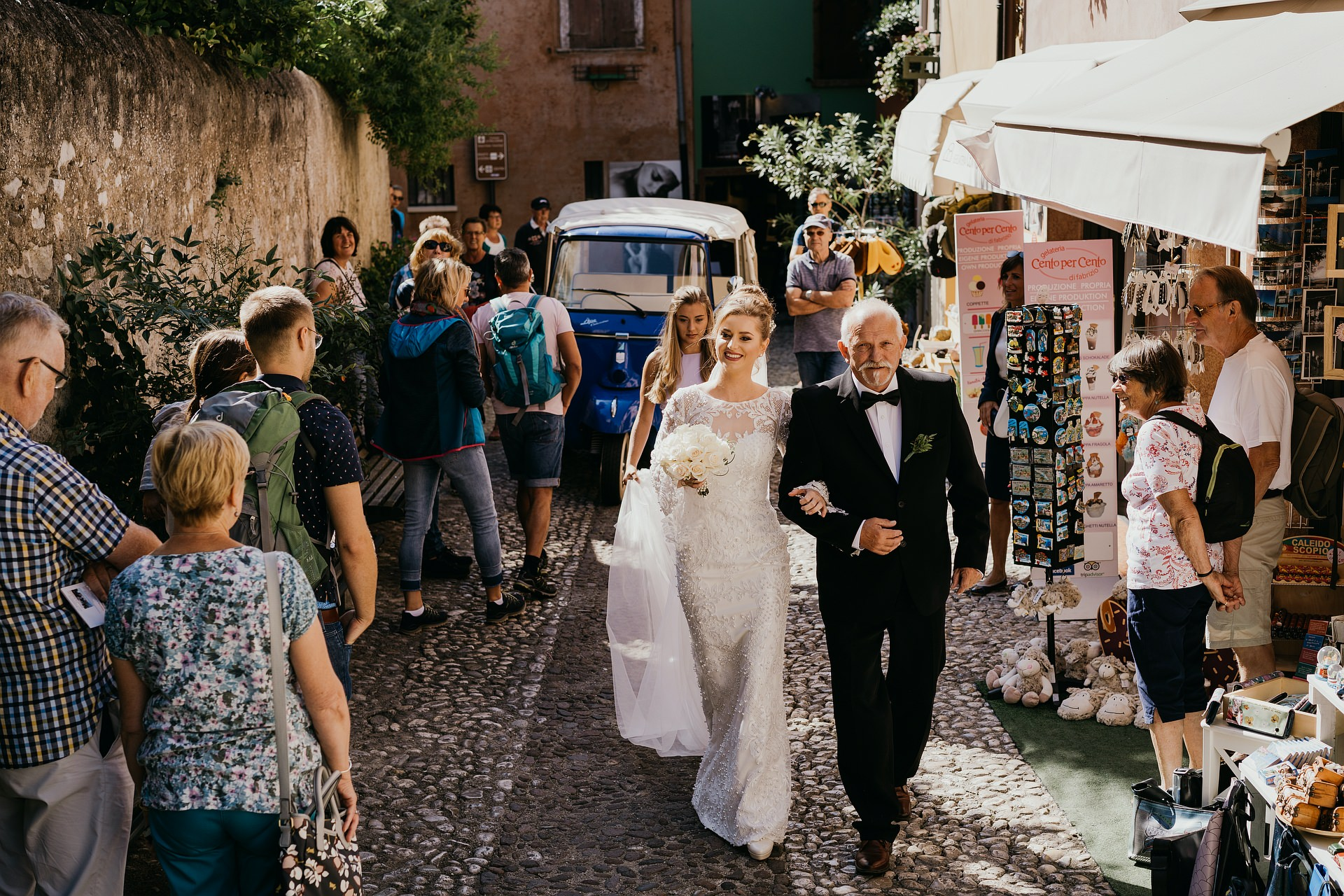 Malcesine Italy Elopement Image of the Bride | with her father, heading to the ceremony