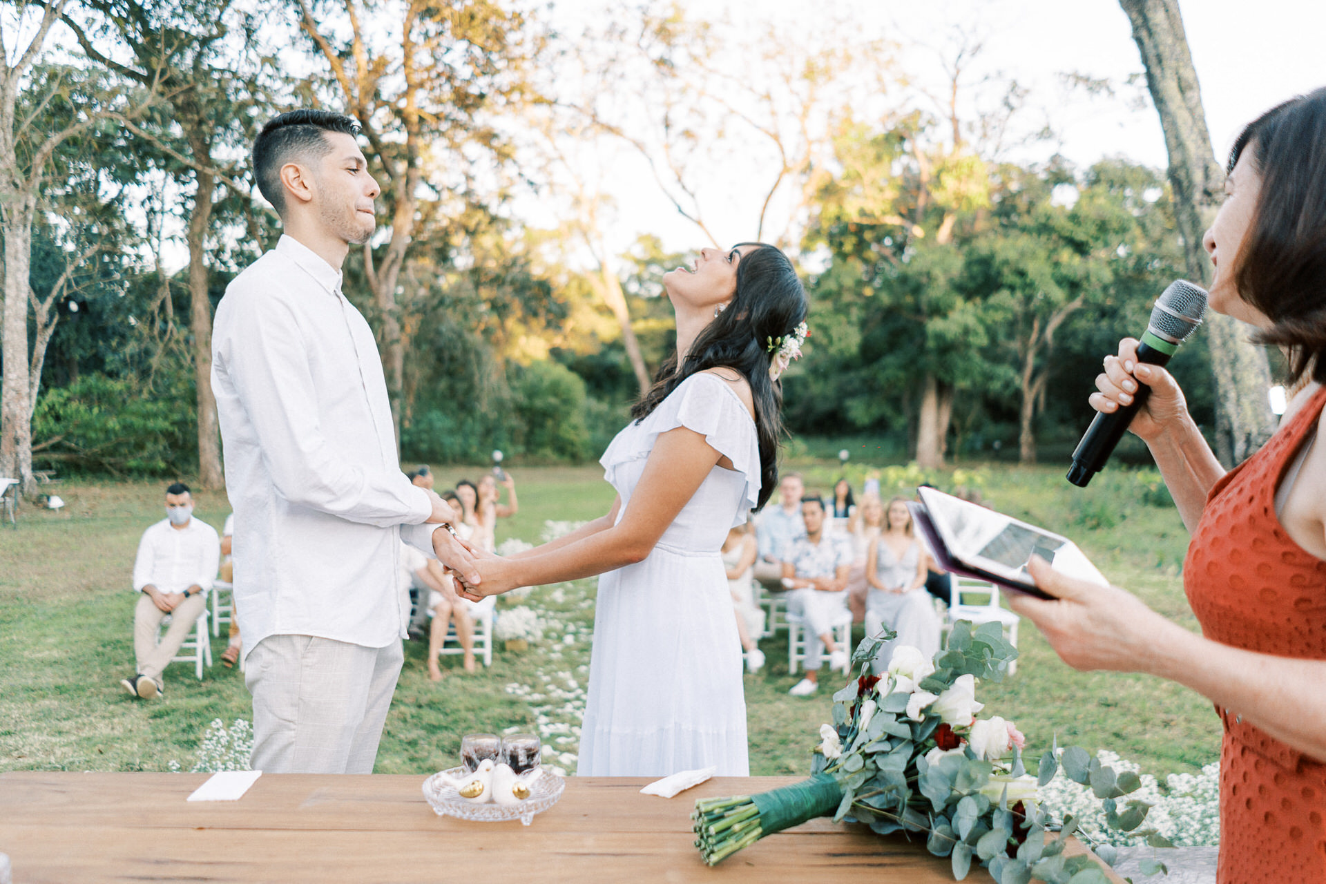 "Brazil Outdoor Elopement Ceremony Image | The bride shouts her ""I do"""