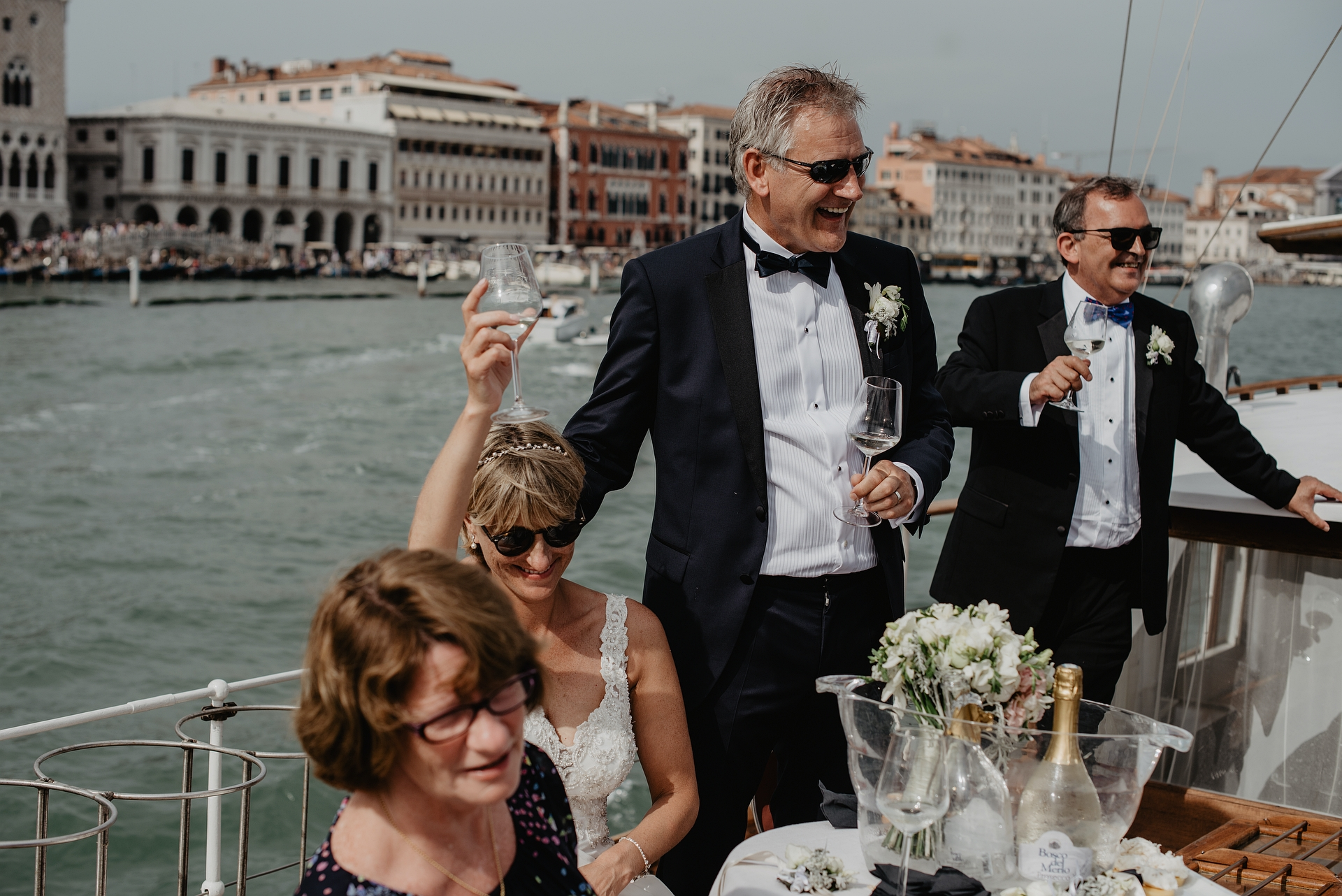 Venice Lagoon Elopement Image from a Private Boat | There were many moments onboard the Silver Yacht sailboat