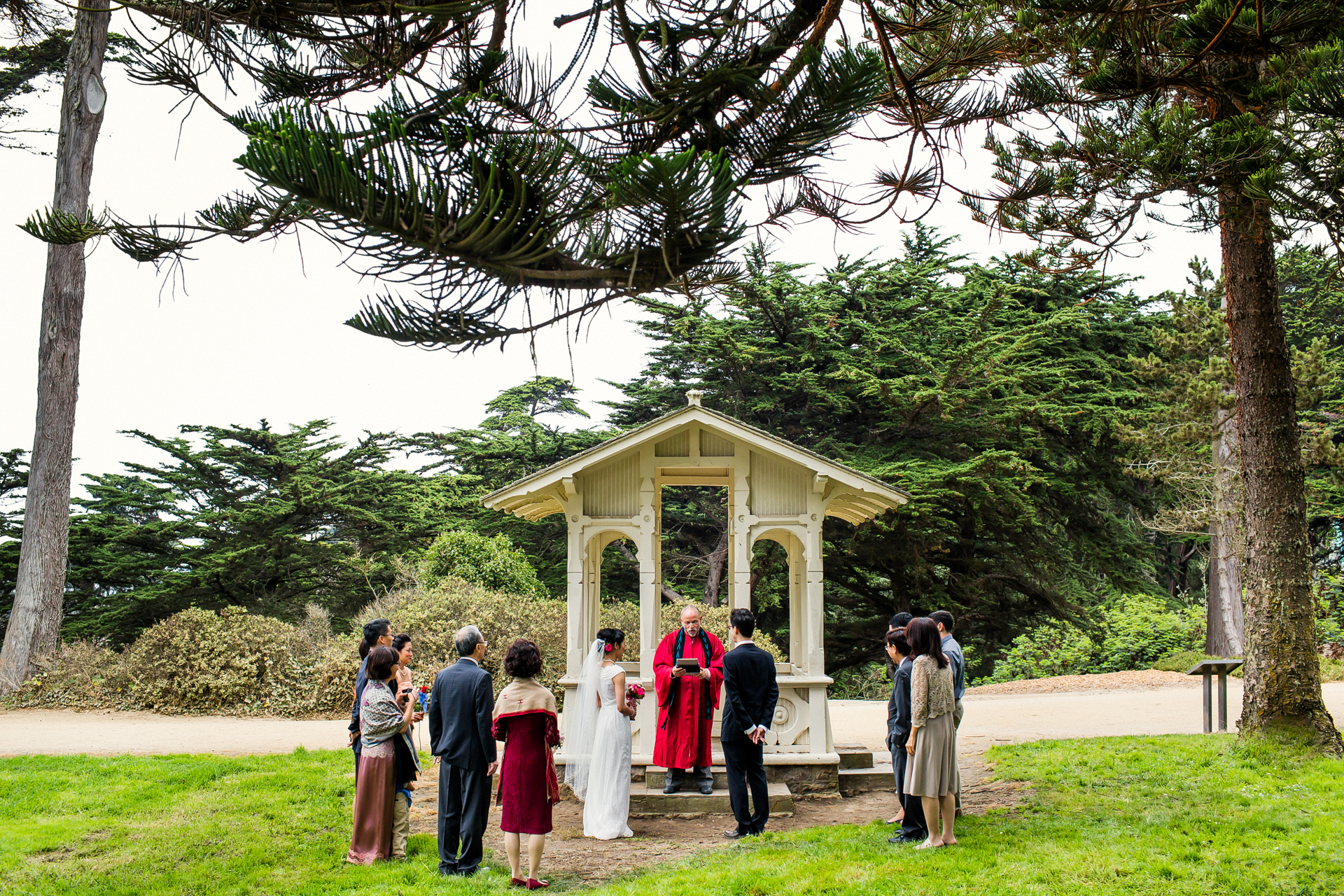 Sutro Heights Park, San Francisco Beach Elopement Ceremony Image | family members and friends flew in from various places around the globe to witness the couple's union