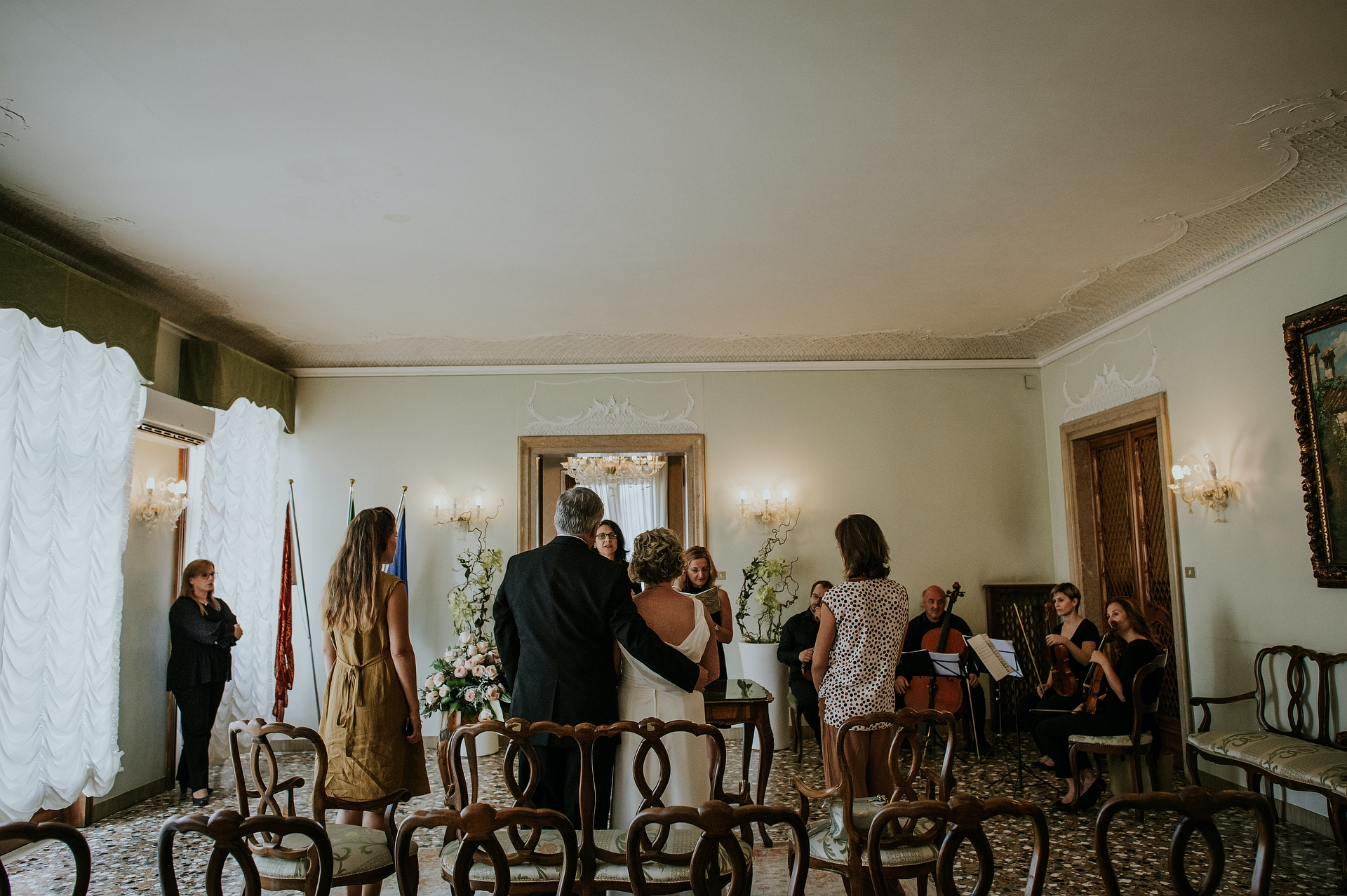 Palazzo Cavalli Town Hall - Venice, Italy Elopement Image | A moment of the intimate ceremony with the witnesses