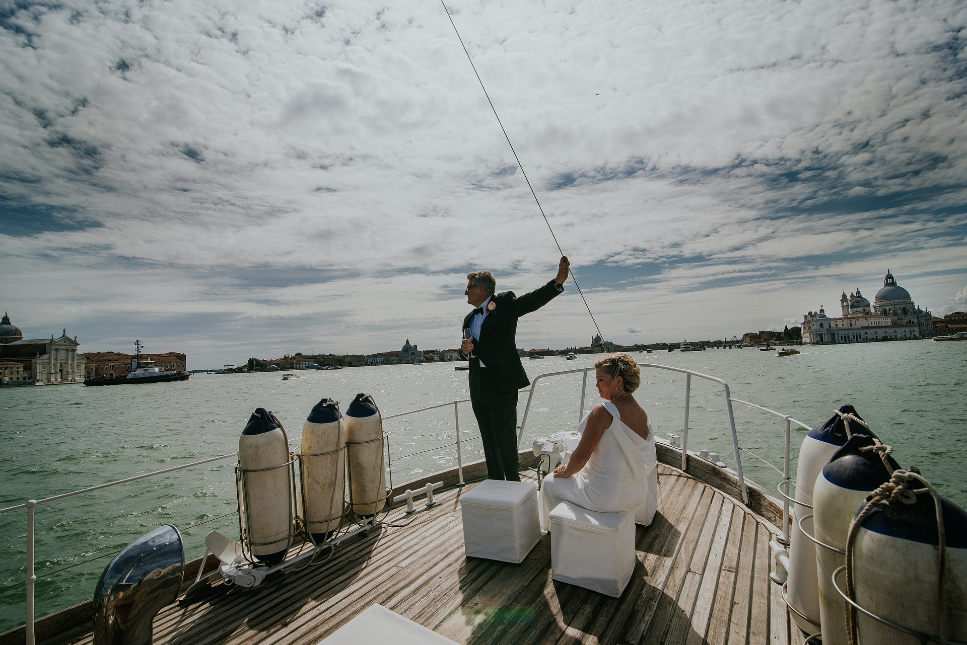 Venice Lagoon, Italy Boat Elopement Picture | sailing along the Venice lagoon, admiring the wonders of this place