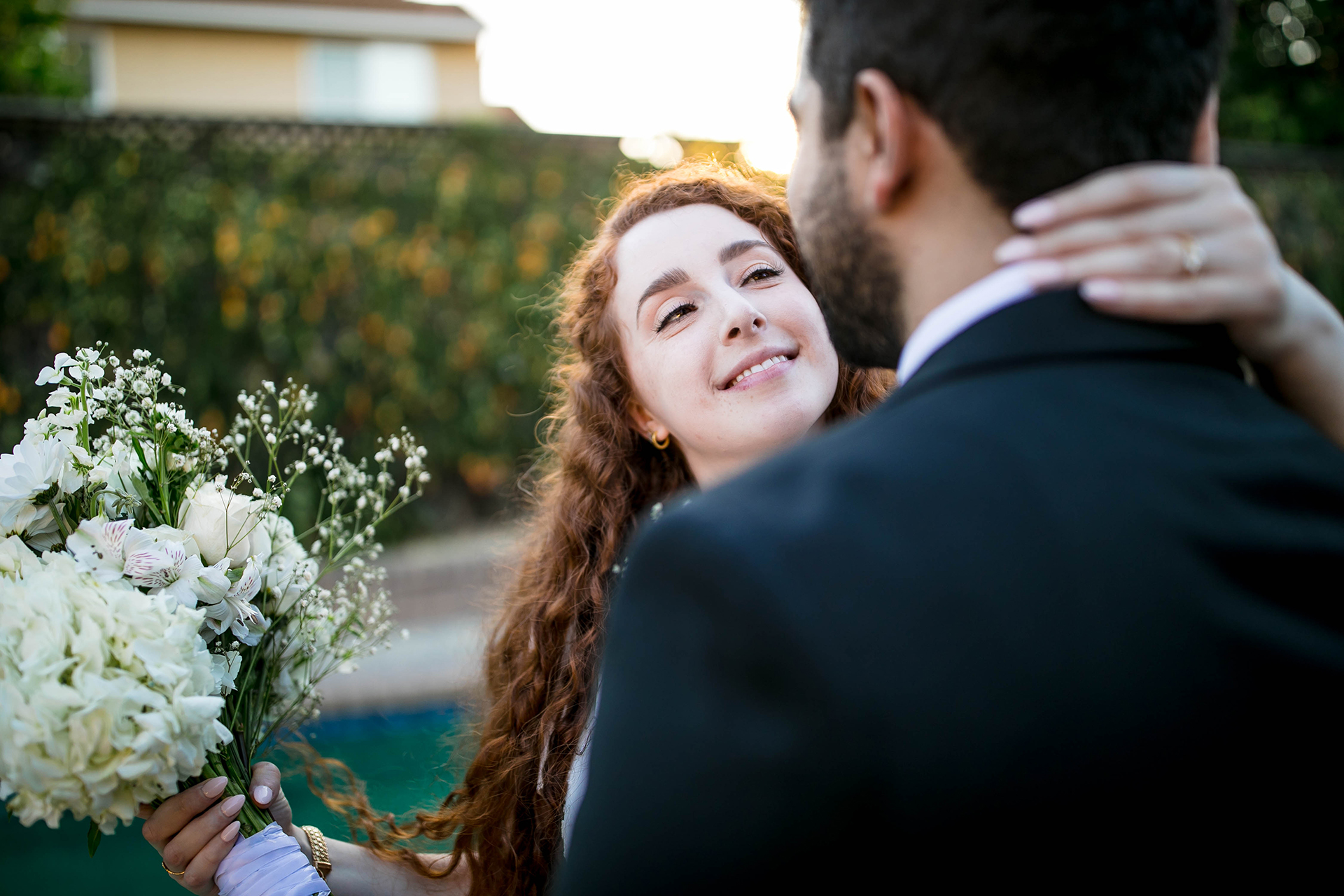 California Elopement Couple Portrait | The bride, happily married, gazes into the groom's eyes
