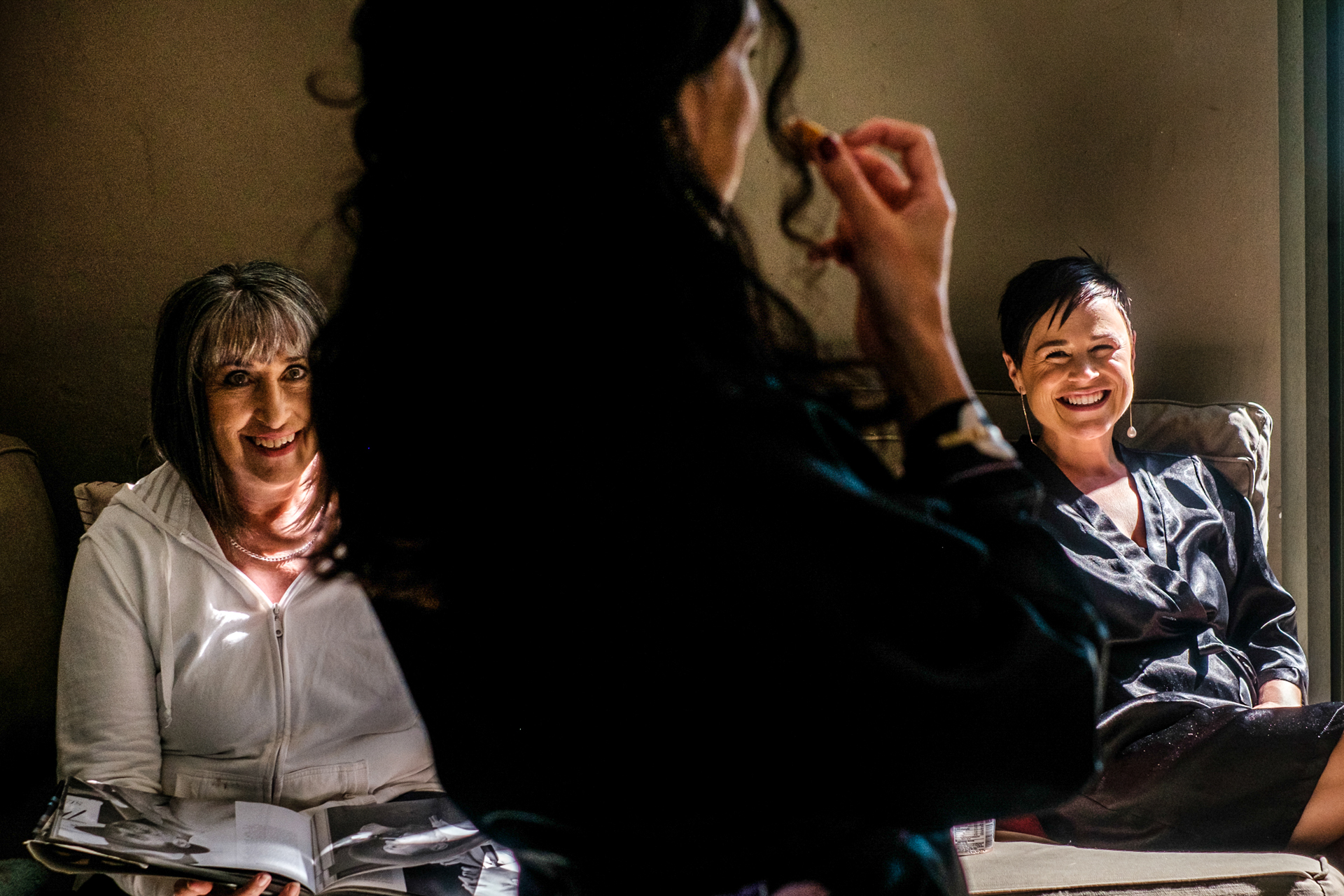 Gelukkie Elopement at Paternoster, South Africa Ceremony Photography   The mother of the bride and bridesmaids reacts