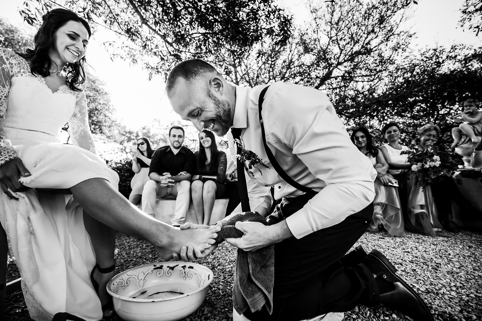 South Africa Christian Elopement Ceremony Photo | The groom washing his bride's feet