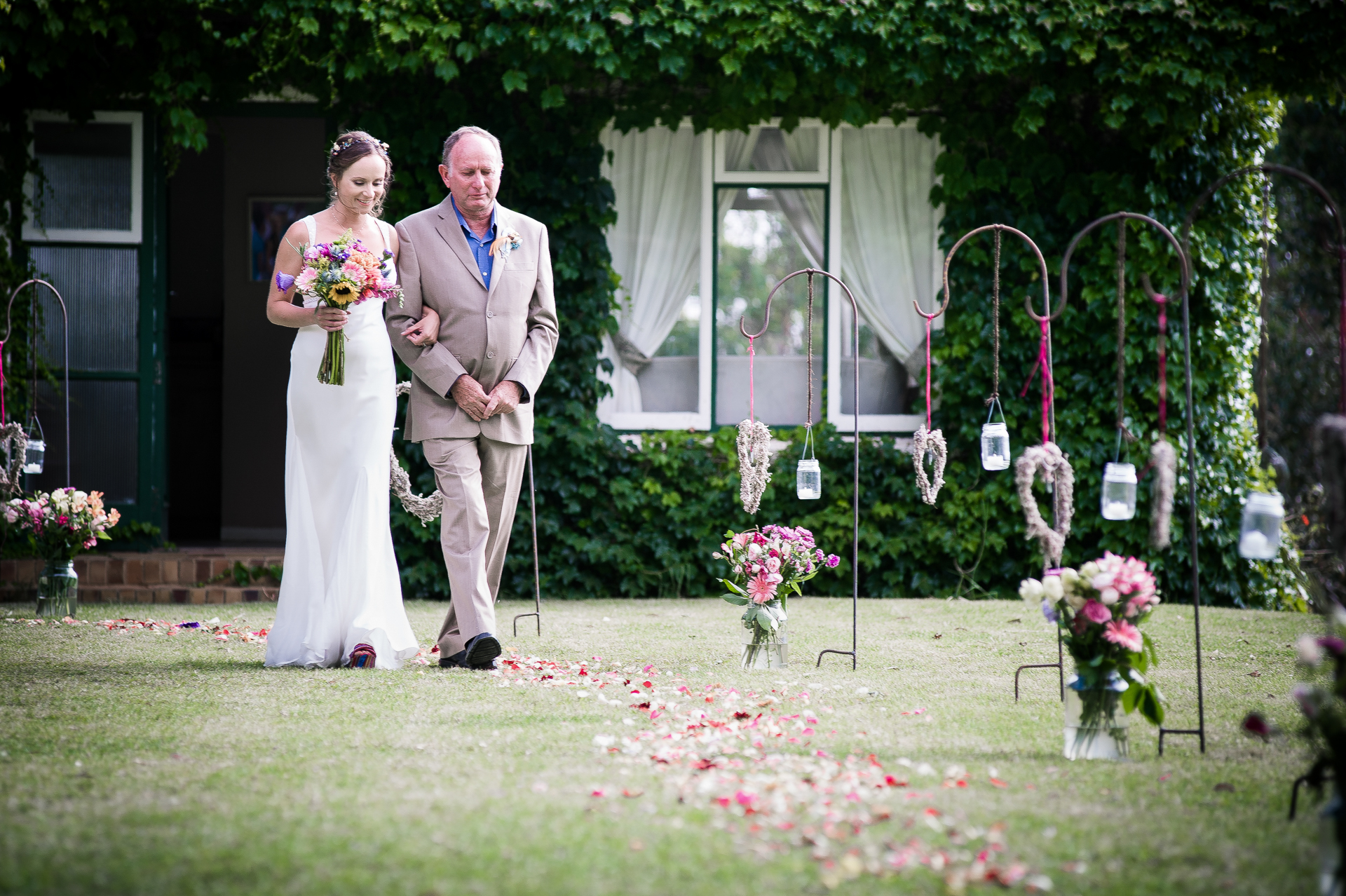 Honeywood Farm - Western Cape Elopement Heidelberg Photos - South Africa |  The bride and her father walk down the aisle