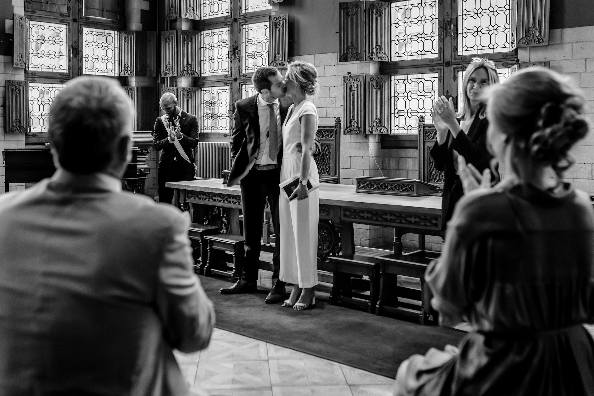 COVID-19 Belgium Town Hall Civil Ceremony Elopement Image | At the end of the ceremony, the couple finally kisses