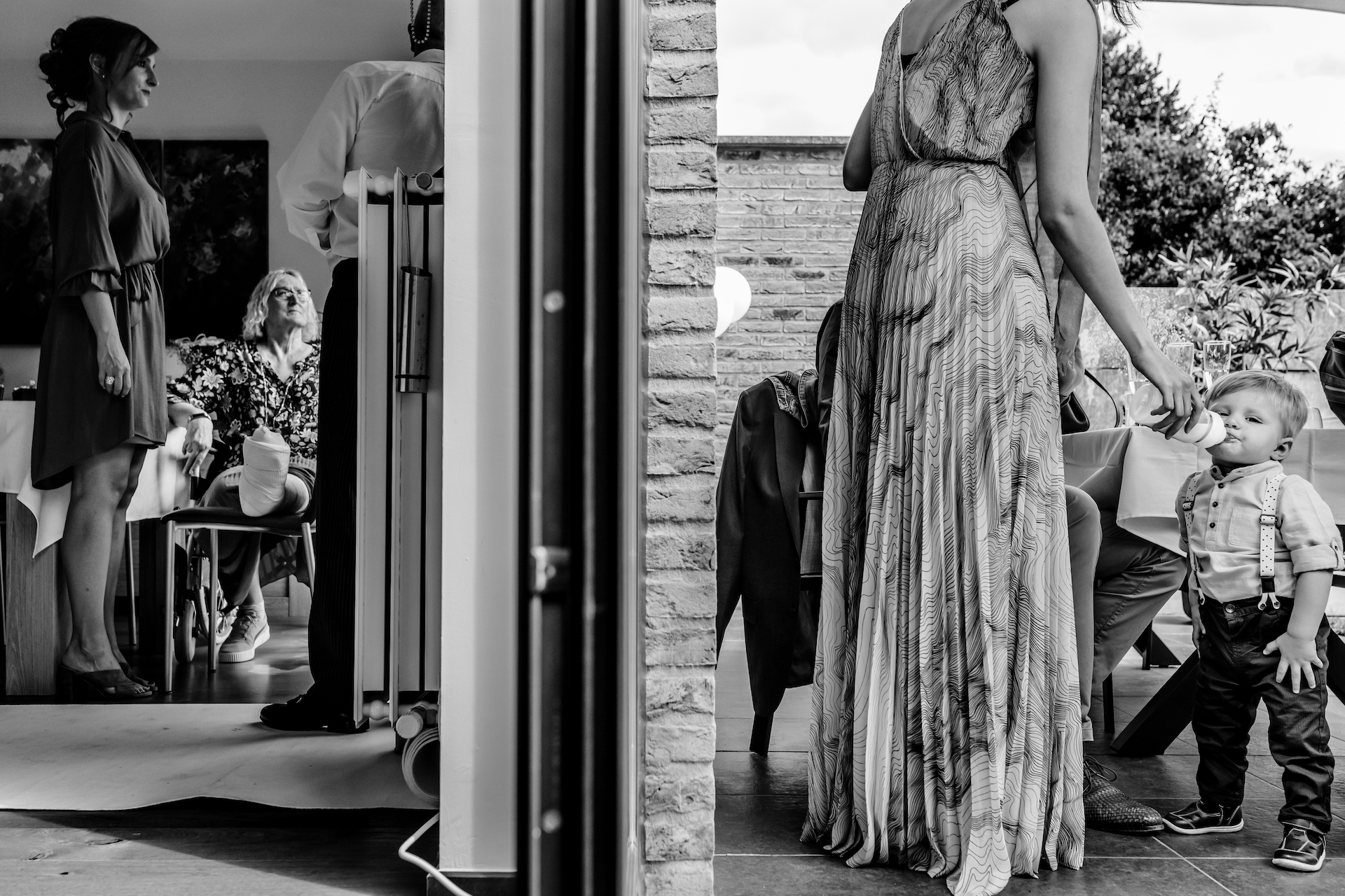 Civil Ceremony Elopement Image from Belgium | Standing halfway between the doors to the patio, we can see the bride's mother sitting down inside