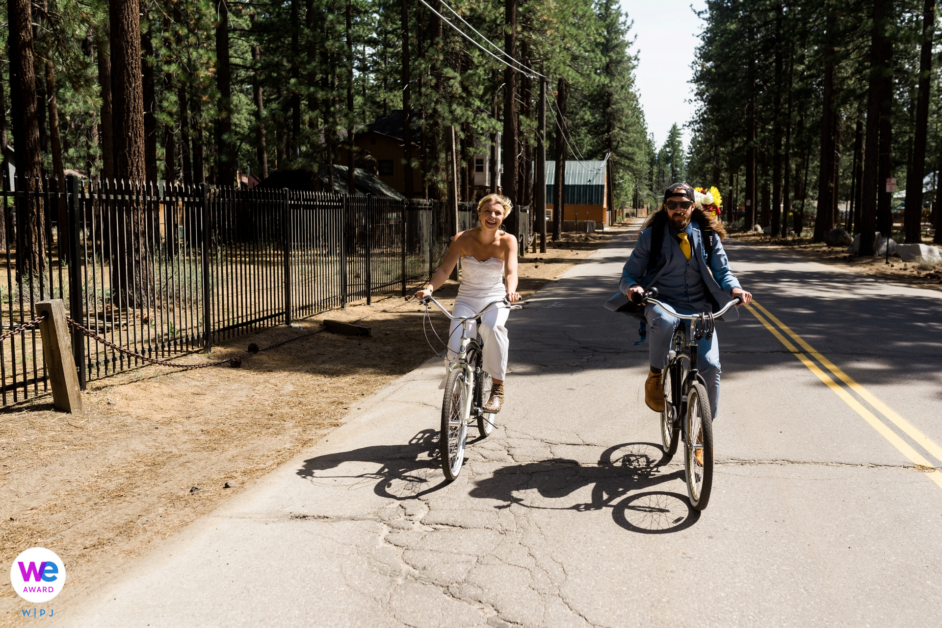 South Lake Tahoe, CA Elopement Photographer | riding bikes to the County Clerk's Office, the ONLY acceptable form of transportation on their wedding day