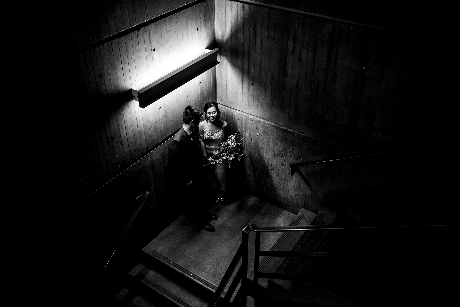 Boston City Hall Elopement - WPJA   the couple snuck down a stairwell together