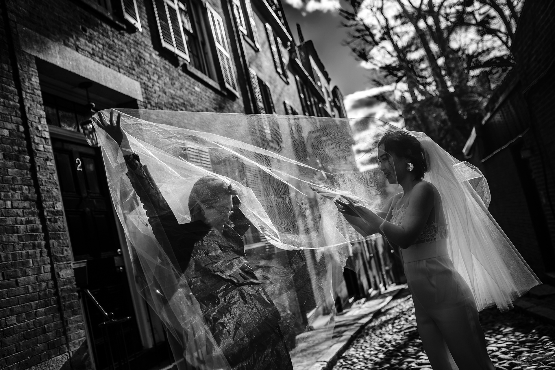Boston City Hall Weddings - WPJA Images   the groom made sure to help his bride with her veil