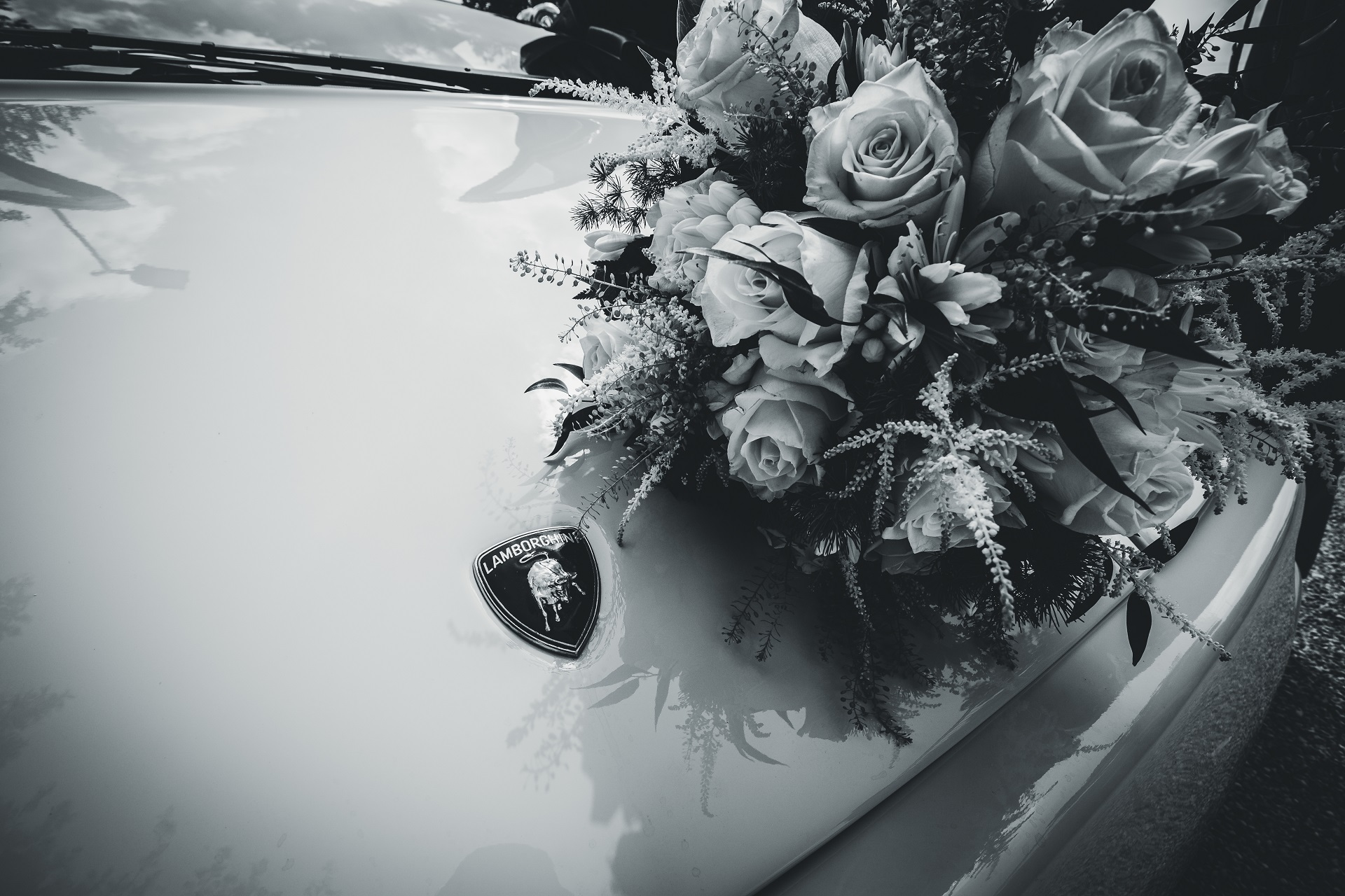 Padua, IT Elopement Car and Bouquet Pictures | The wedding vehicle, a Lamborghini, is beautifully decorated with a large arrangement of roses