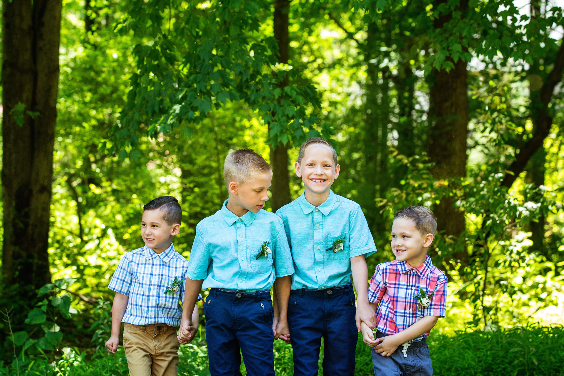 NJ Outdoor Elopement Kids Portrait   The boys giggle and smile together as they prepare to take a portrait