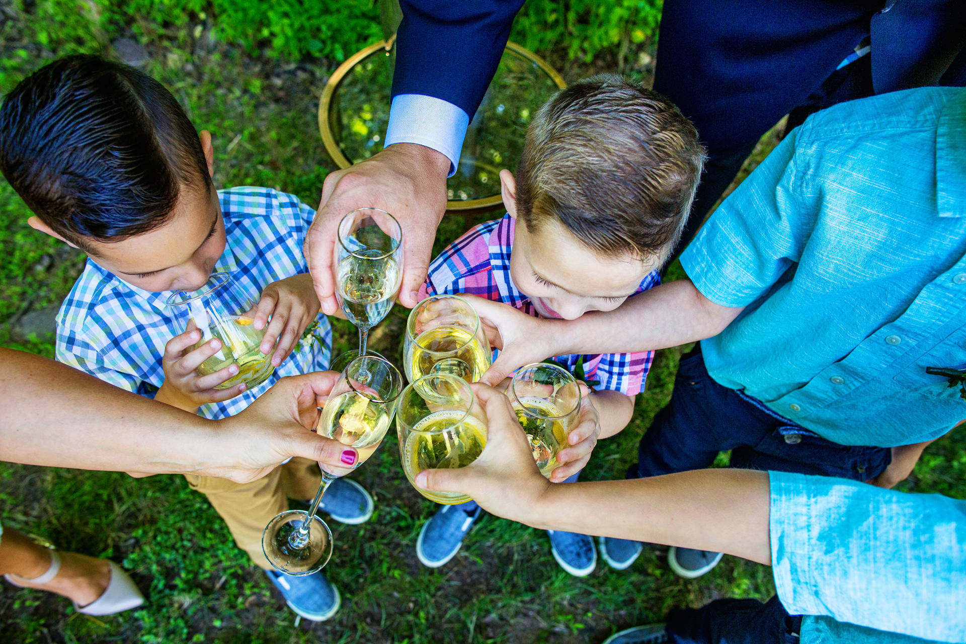 NJ Outdoor Elopement Toast Picture   Everyone enjoys a family toast to celebrate the marriage