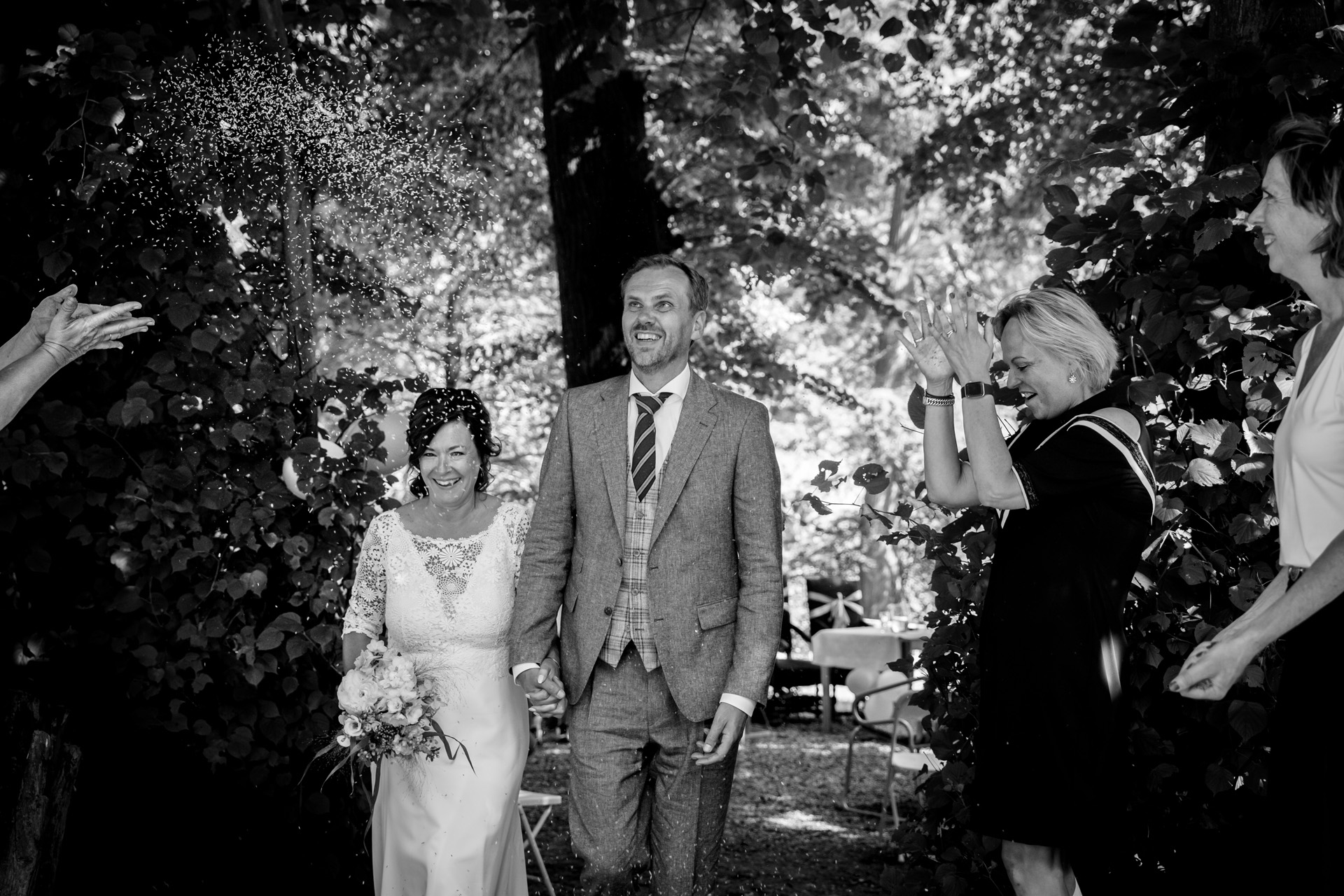 Outdoor Elopement Ceremony Image from the NL | Both the bride and groom are delighted in their first moments as husband and wife
