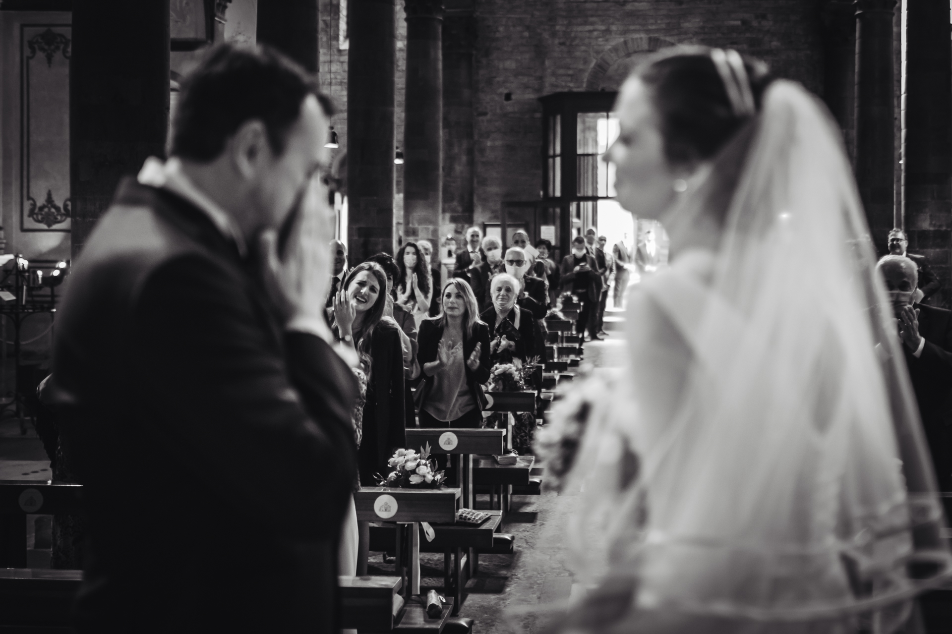 Florence Elopement Ceremony Picture | At the end of the ceremony, the groom can not contain his excitement and emotion