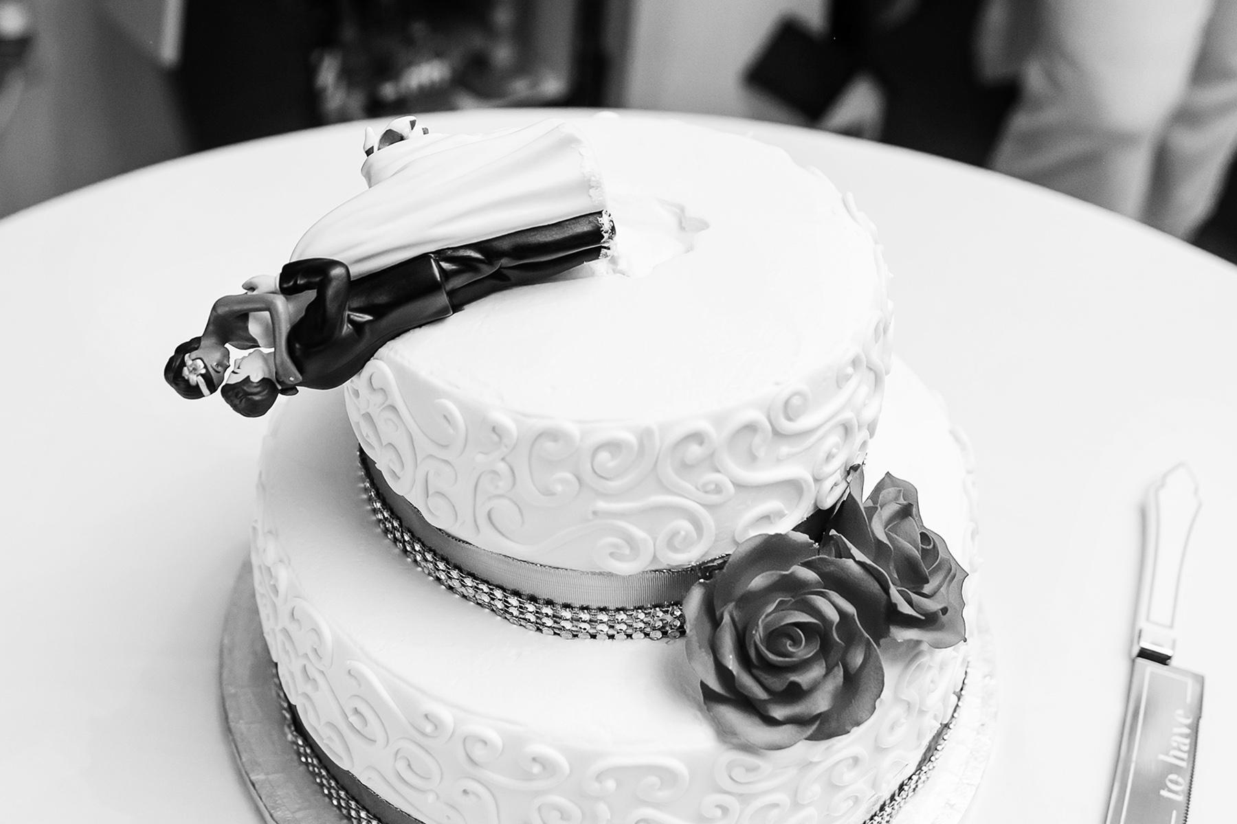 Tucker, Georgia small COVID wedding | The cake topper on the wedding cake
