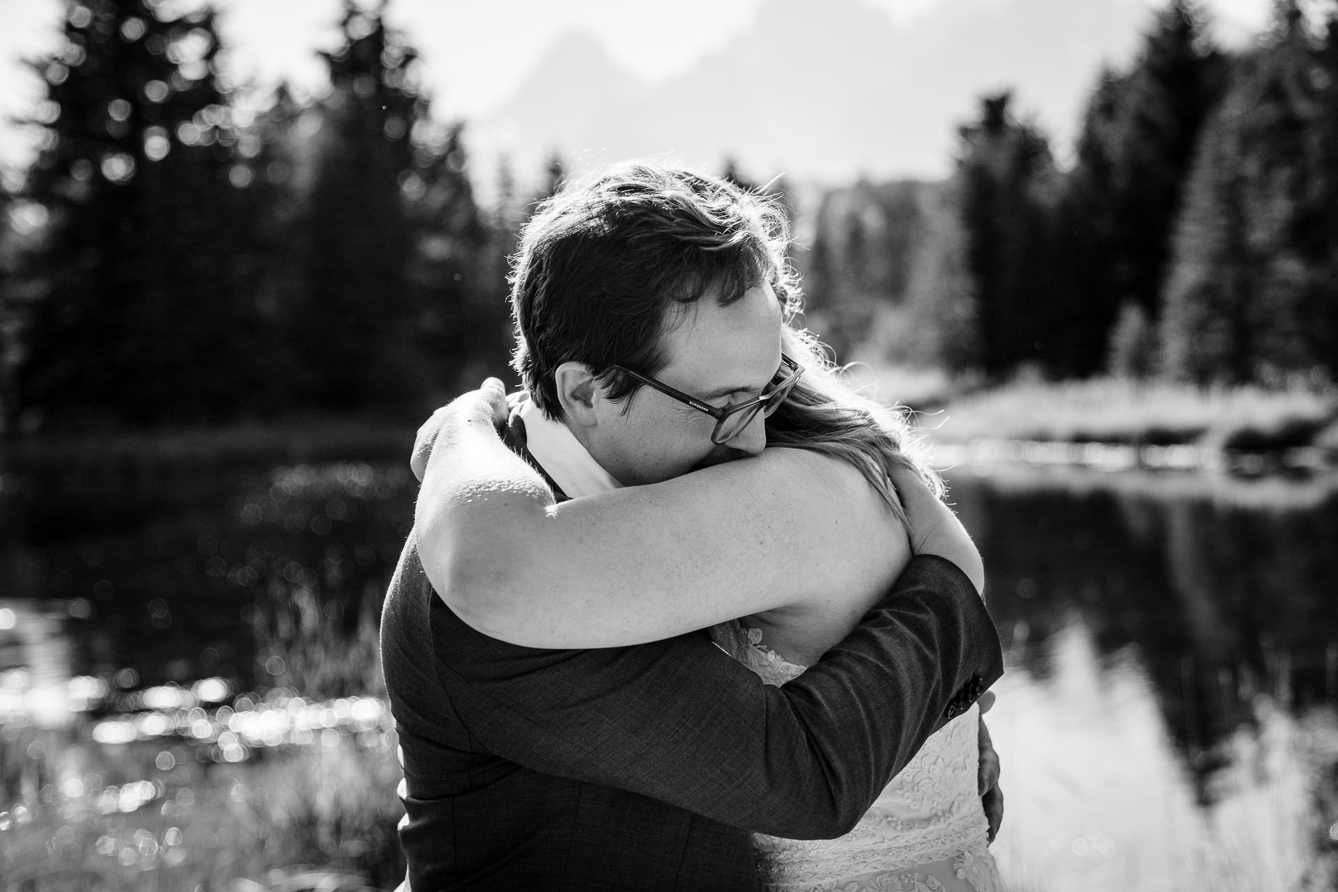 Wyoming Outdoor Elopement Ceremony Photography | The bride and groom embrace moments after their first kiss